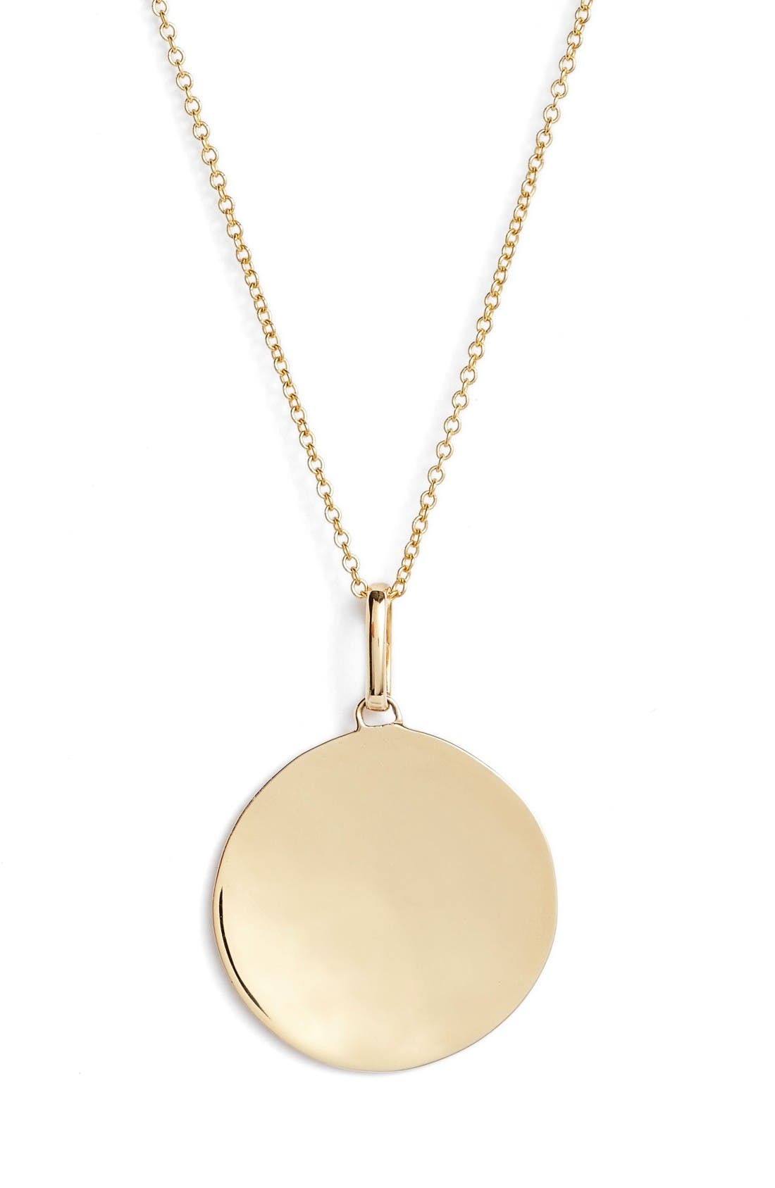 Concave Large Pendant Necklace,                             Alternate thumbnail 2, color,                             Yellow Gold