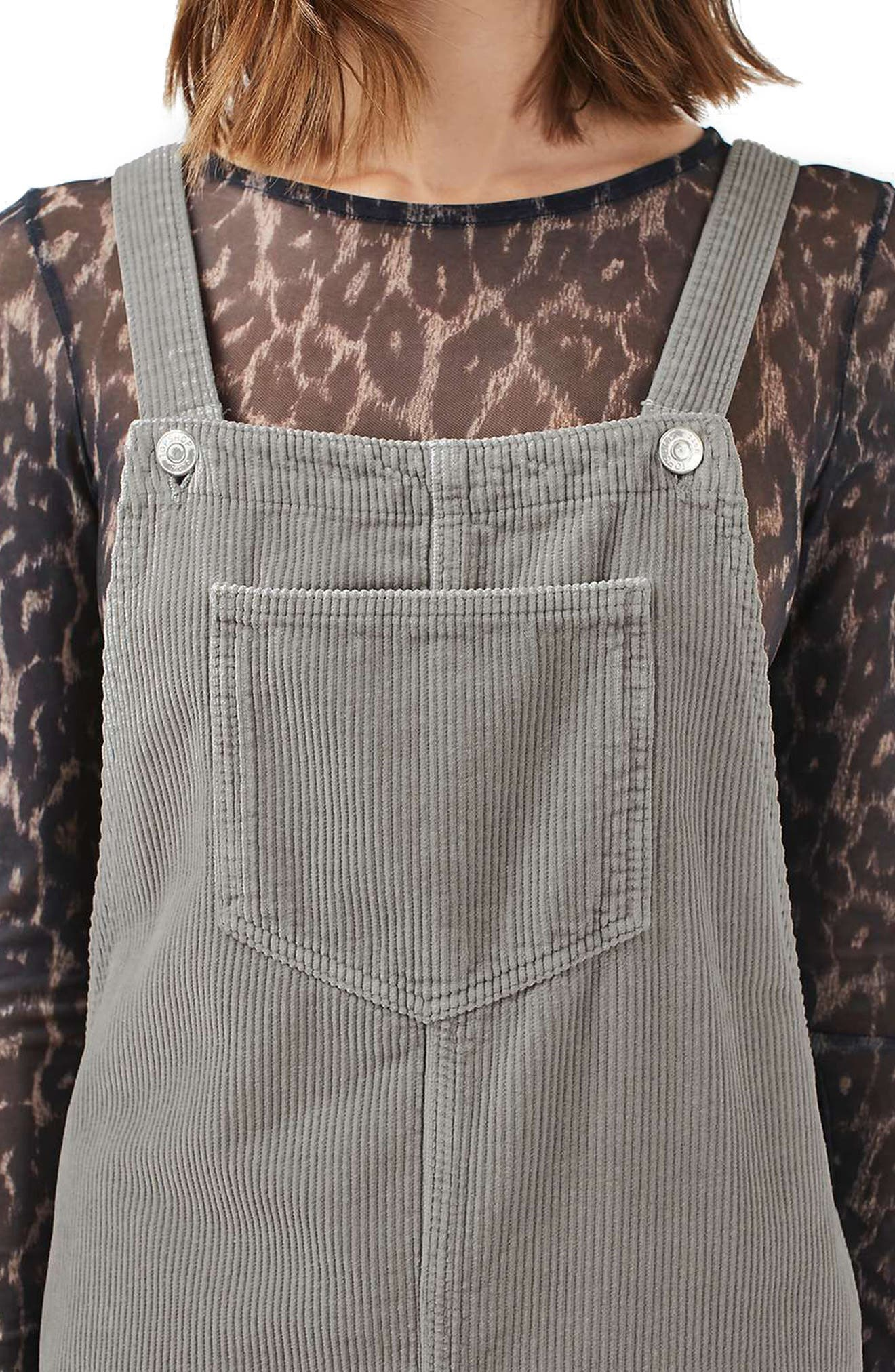 Alternate Image 5  - Topshop Moto Corduroy Pinafore Dress