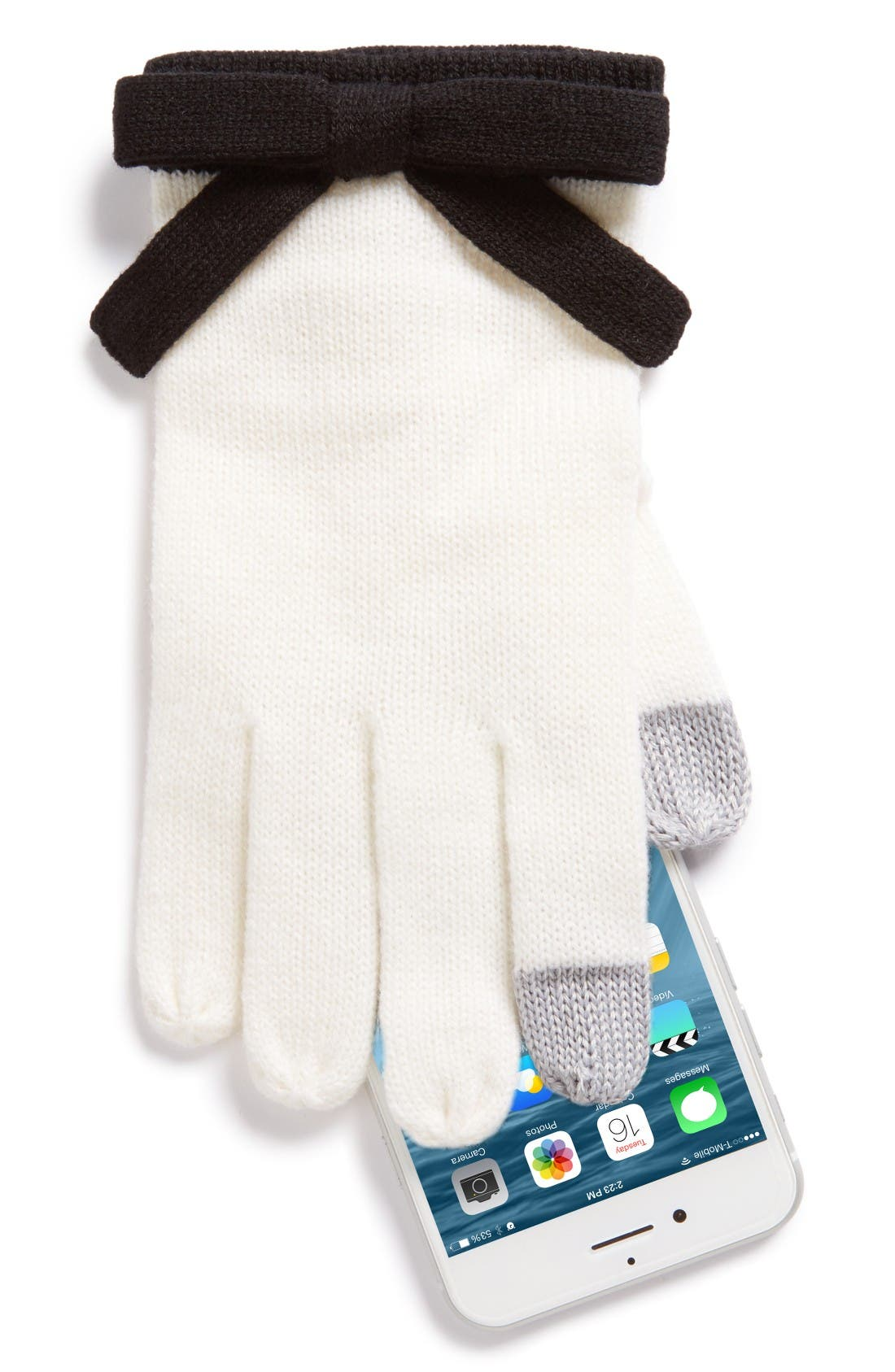 contrast bow tech friendly gloves,                             Alternate thumbnail 2, color,                             Cream/ Black