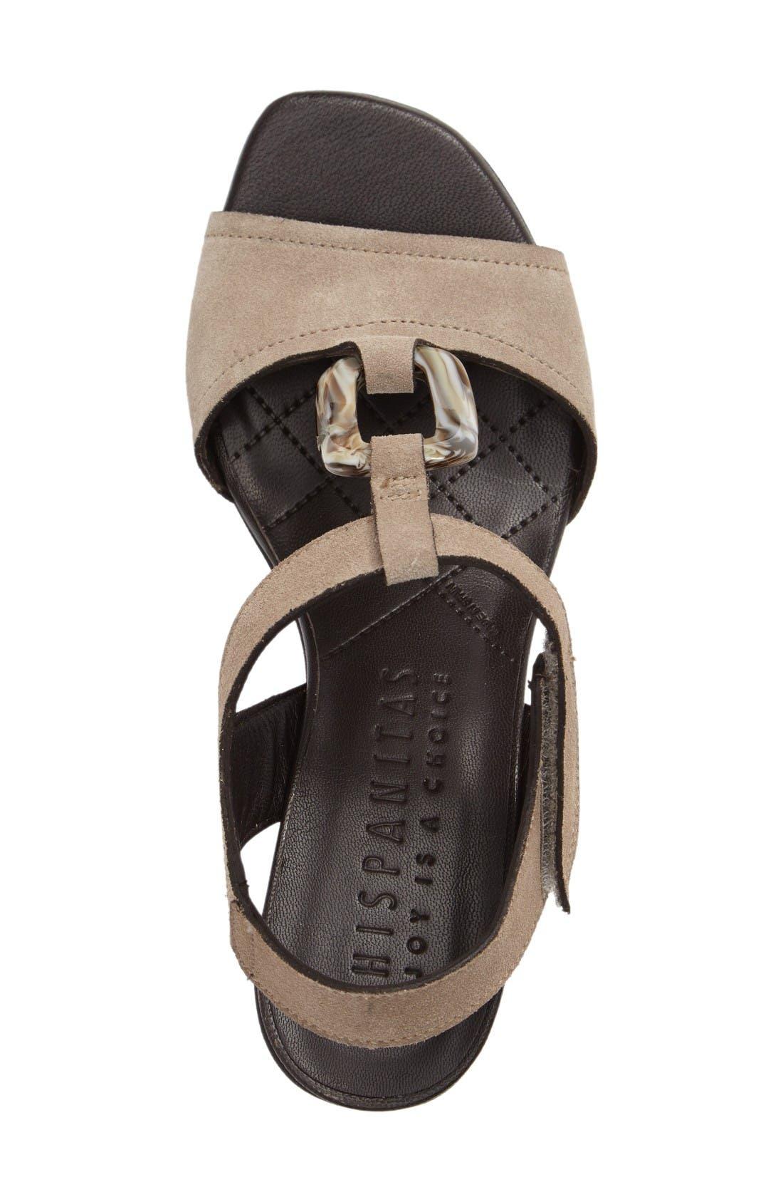 Ursula Ringed T-Strap Sandal,                             Alternate thumbnail 3, color,                             Velour Elm Fabric