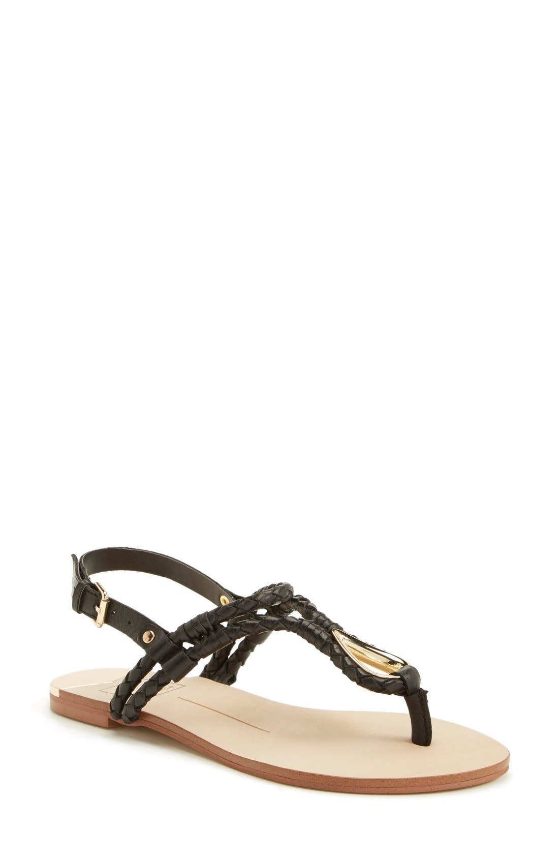 'Dixin' Thong Sandal,                         Main,                         color, Black Leather