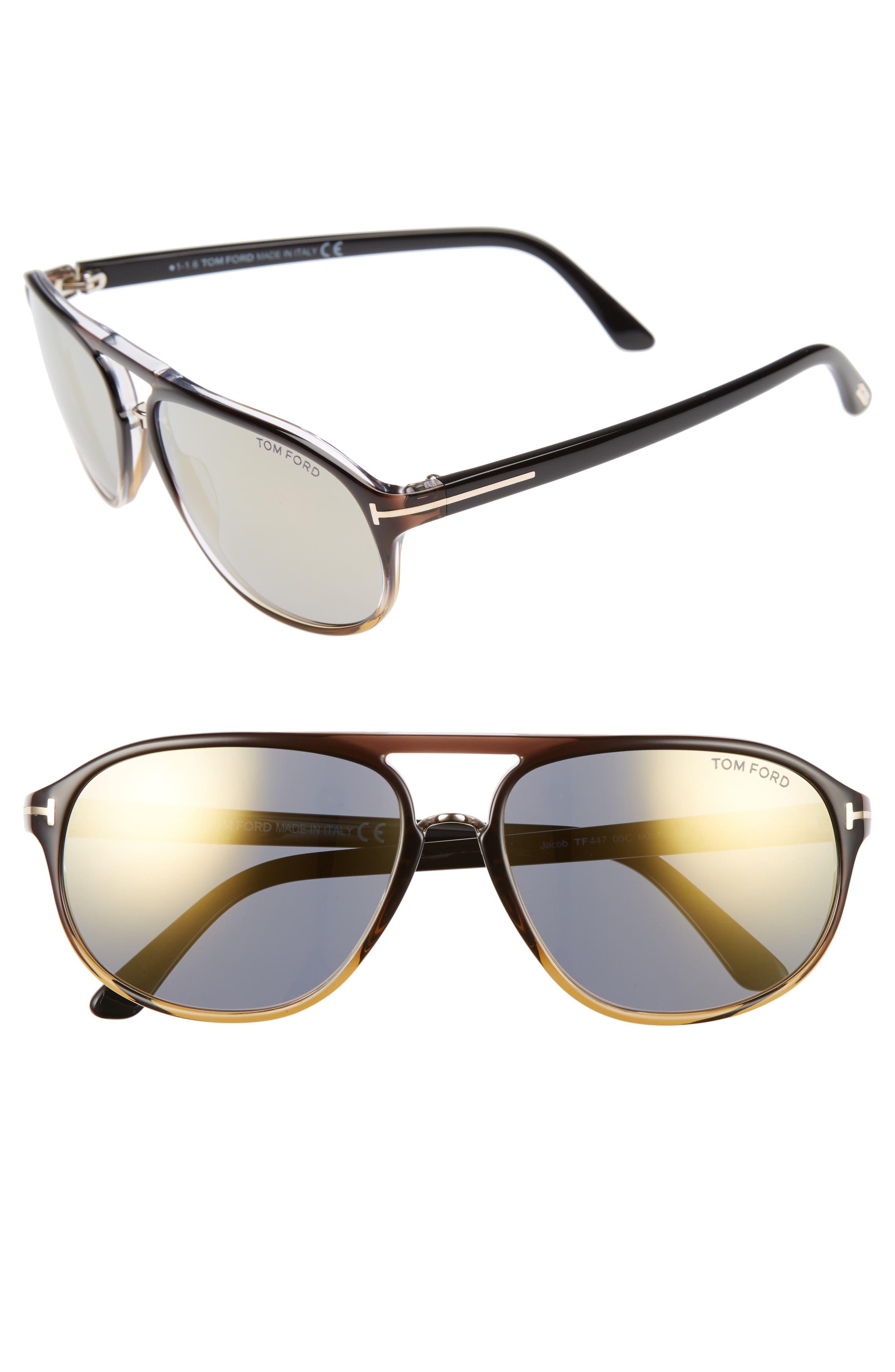 Jacob 60mm Retro Sunglasses,                             Main thumbnail 1, color,                             Black/ Other/ Smoke Mirror