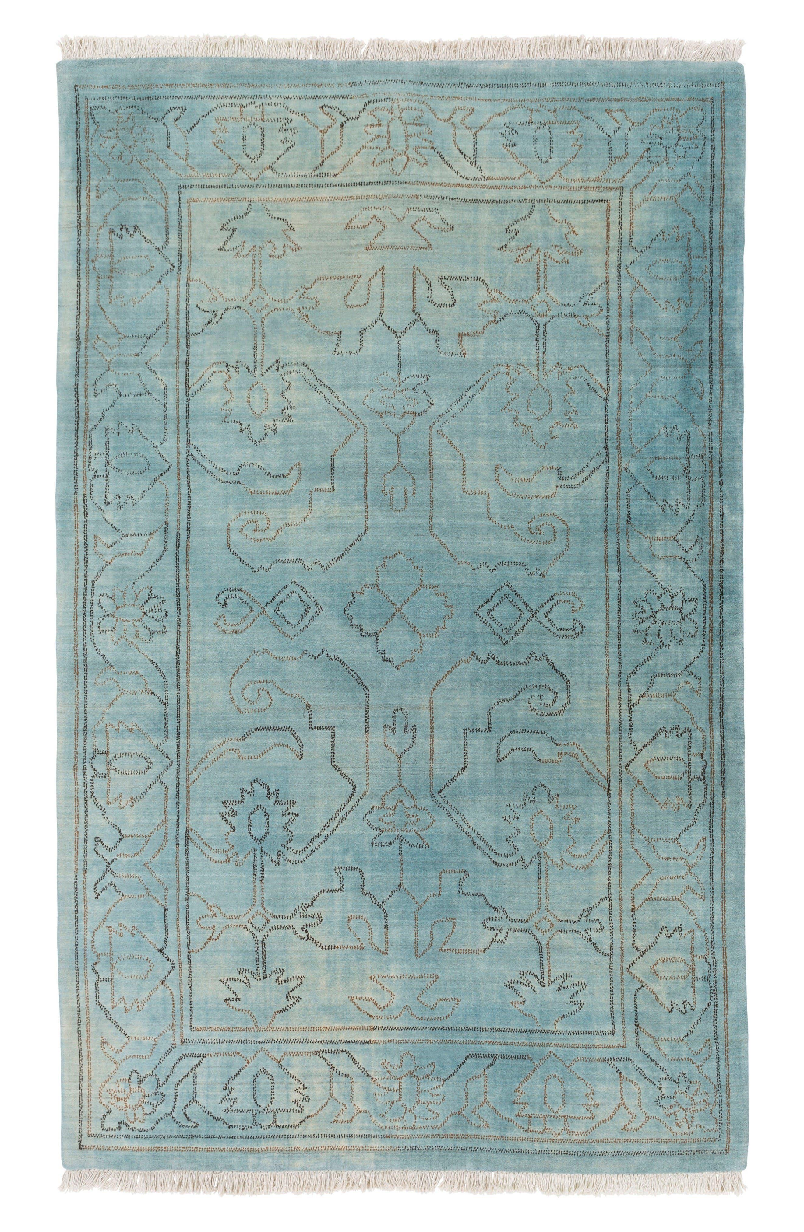 Scroll Wool Rug,                         Main,                         color, Blue/ Grey