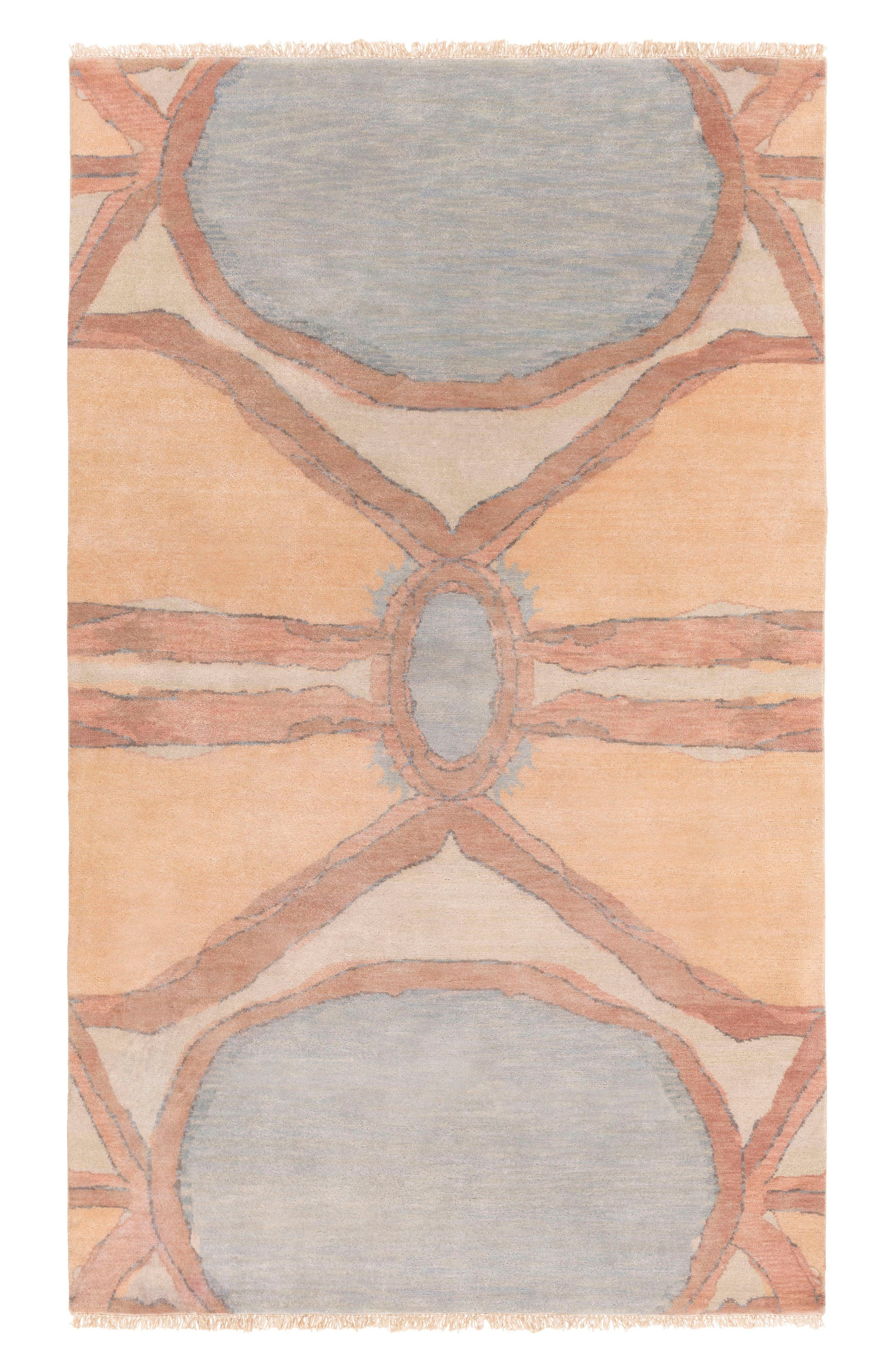 Oval Abstract Wool Rug,                         Main,                         color, Wheat/ Camel