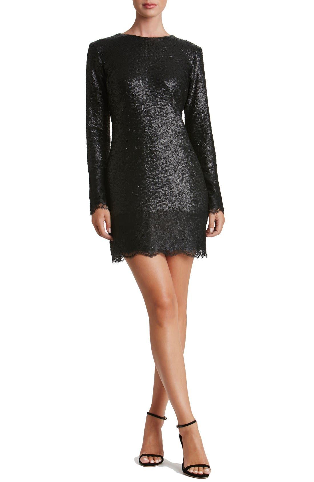 Alternate Image 3  - Dress the Population Kate Lace Trim Sequin Dress