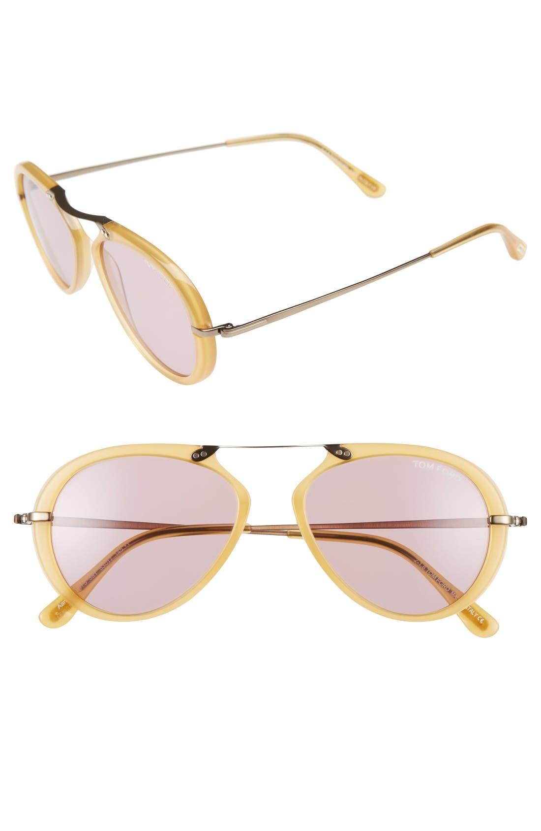 'Aaron' 53mm Sunglasses,                             Main thumbnail 1, color,                             Shiny Yellow/ Violet