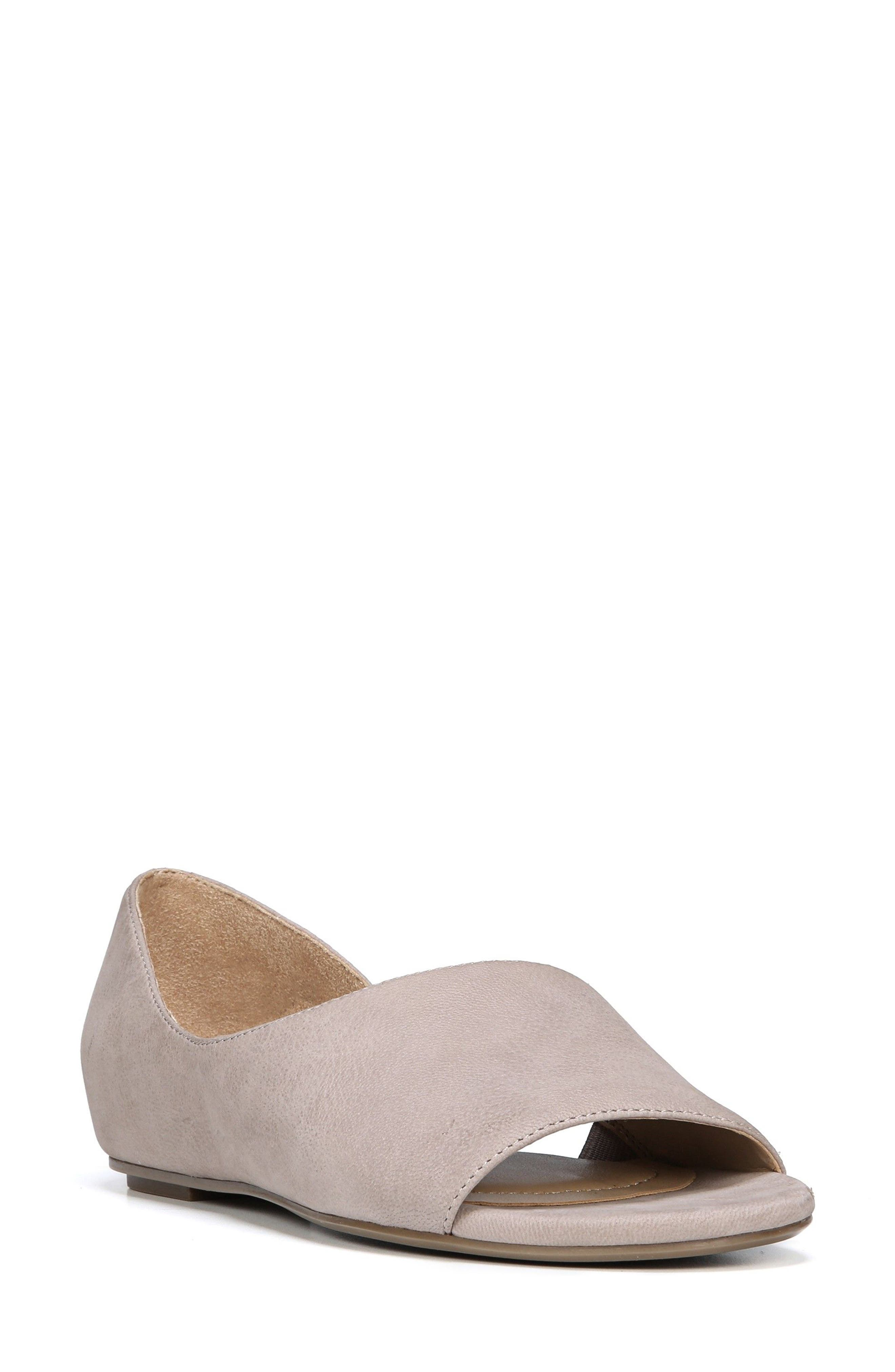 Lucie Half d'Orsay Flat,                             Main thumbnail 1, color,                             Dove Leather