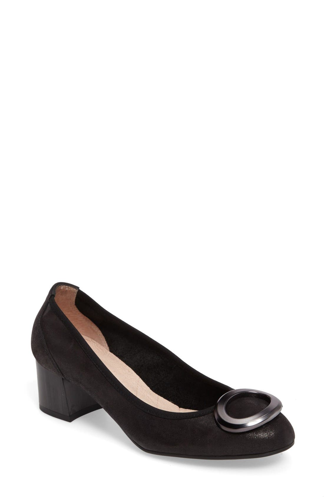 Jayla Brooch Toe Pump,                             Main thumbnail 1, color,                             Magic Black Leather