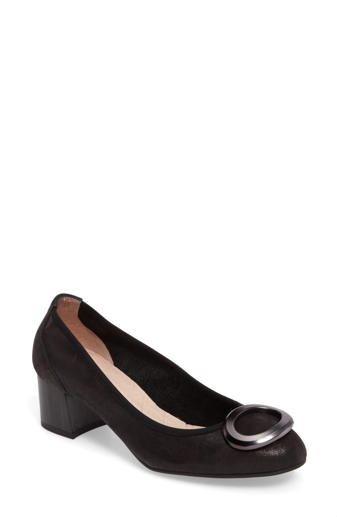 Jayla Brooch Toe Pump,                         Main,                         color, Magic Black Leather