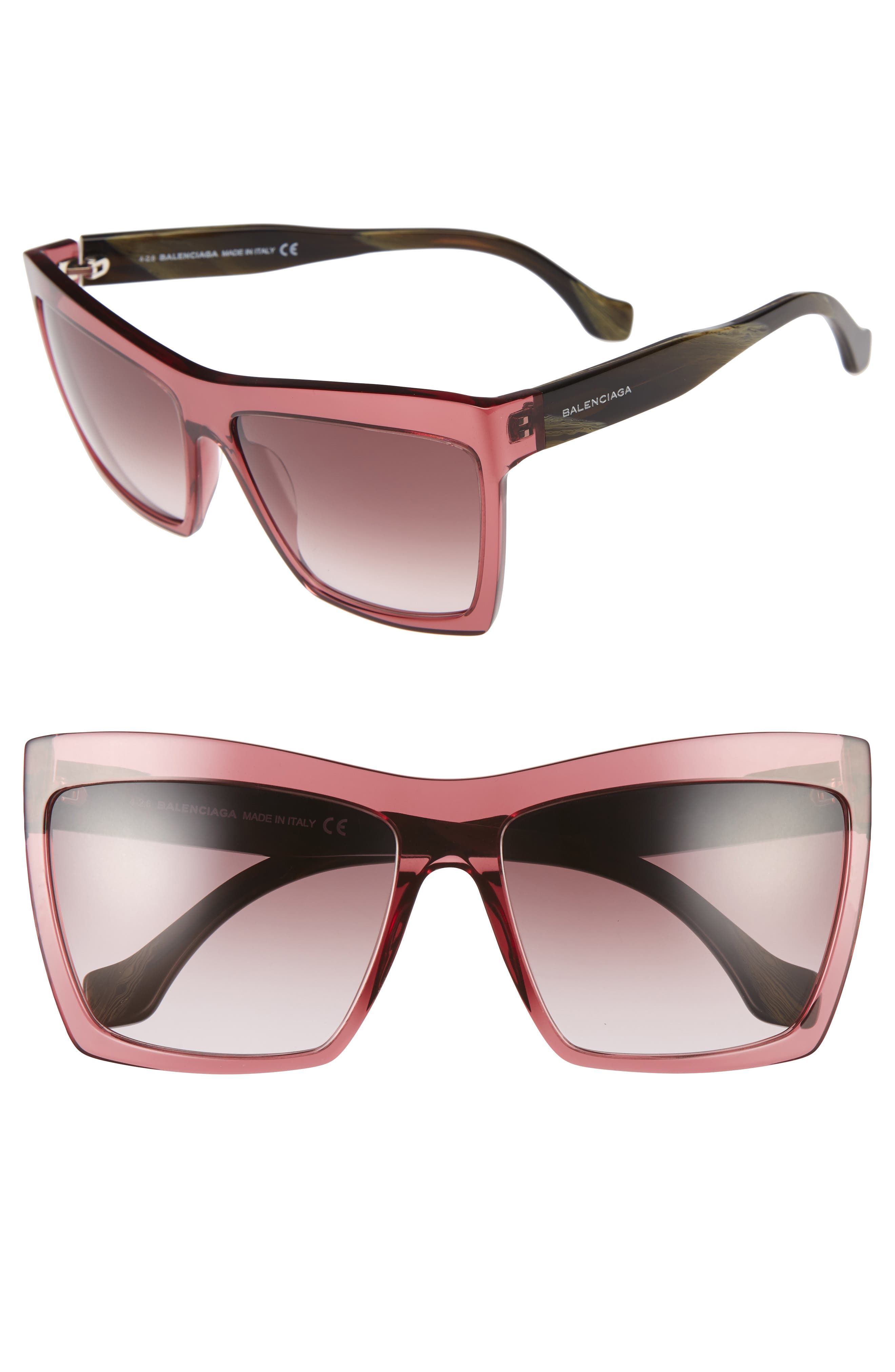 60mm Oversize Sunglasses,                             Main thumbnail 1, color,                             Red/ Green/ Silver/ Red