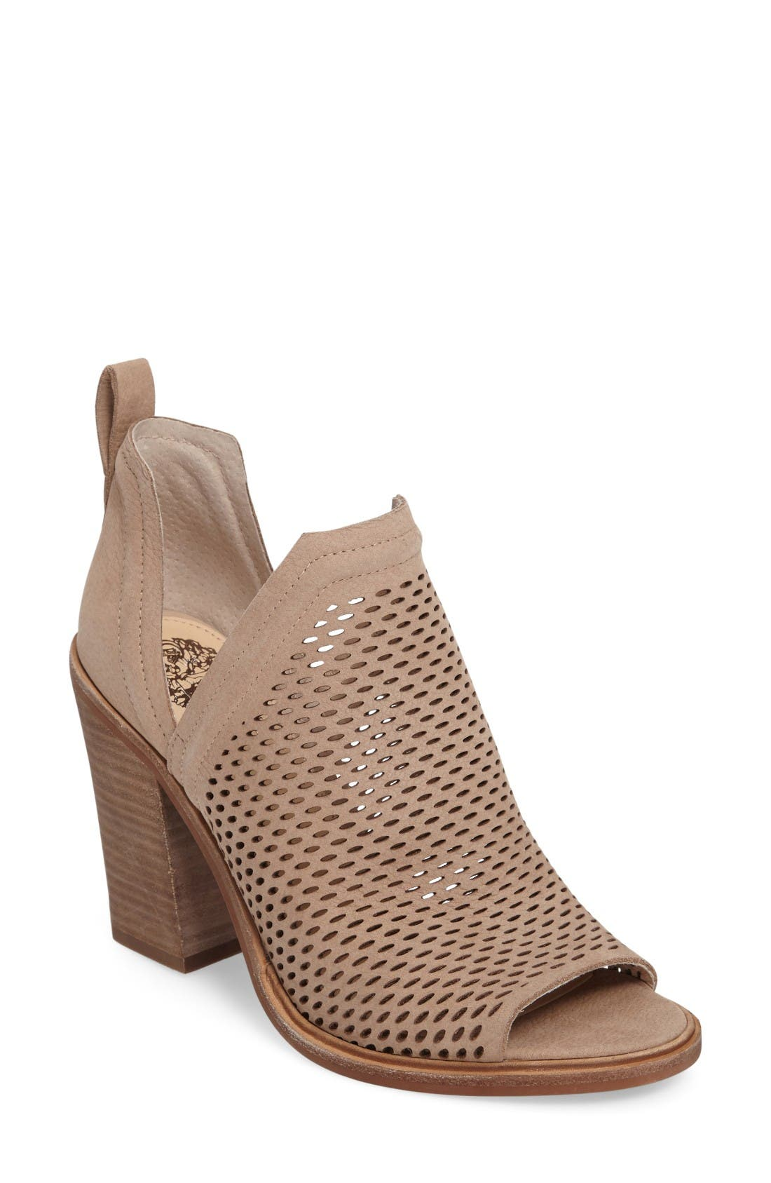 Kensa Peep Toe Bootie,                             Main thumbnail 1, color,                             Almond Beige Nubuck Leather