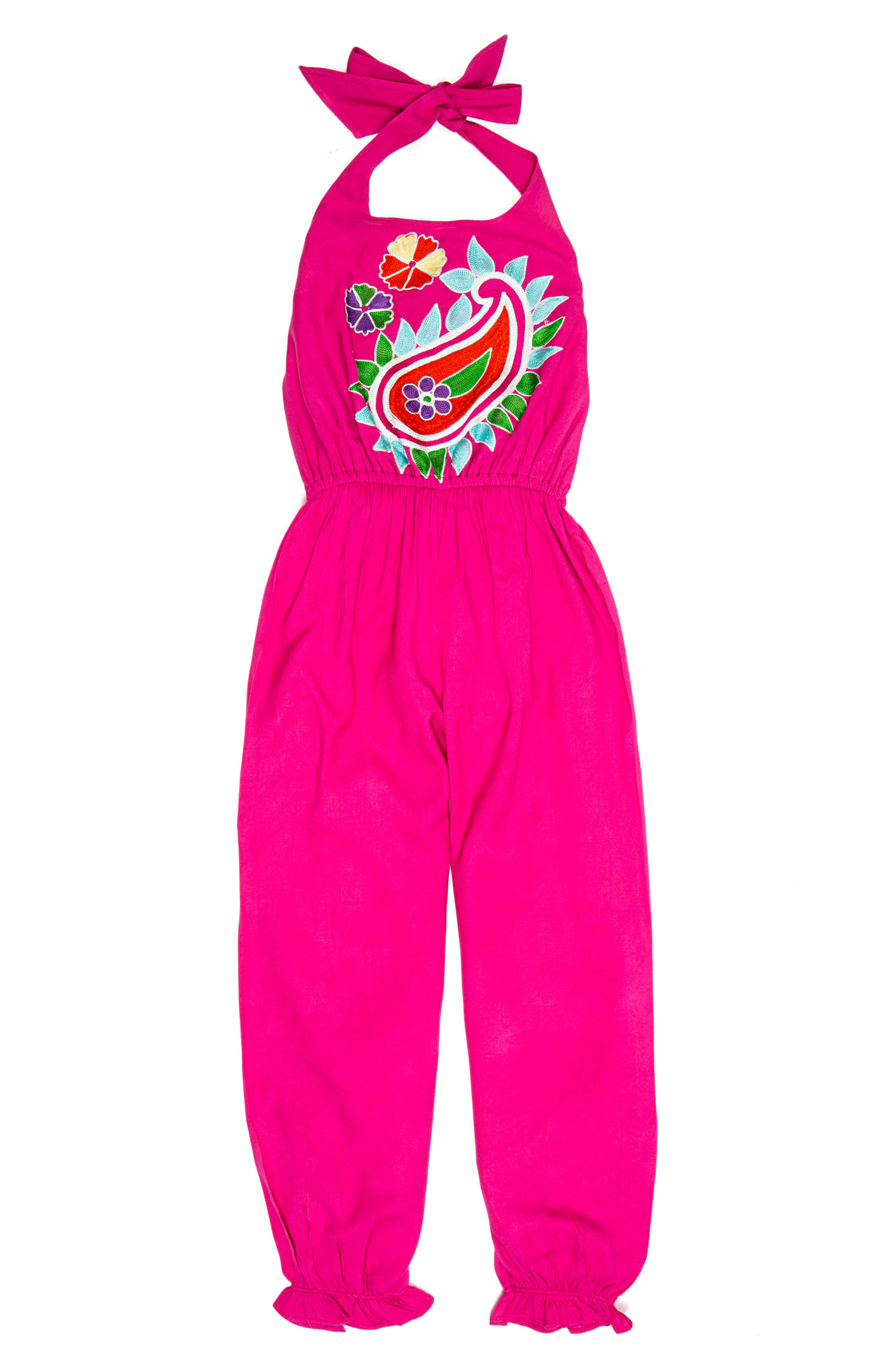 Masalababy Paisley Embroidered Halter Jumpsuit (Toddler Girls, Little Girls & Big Girls)