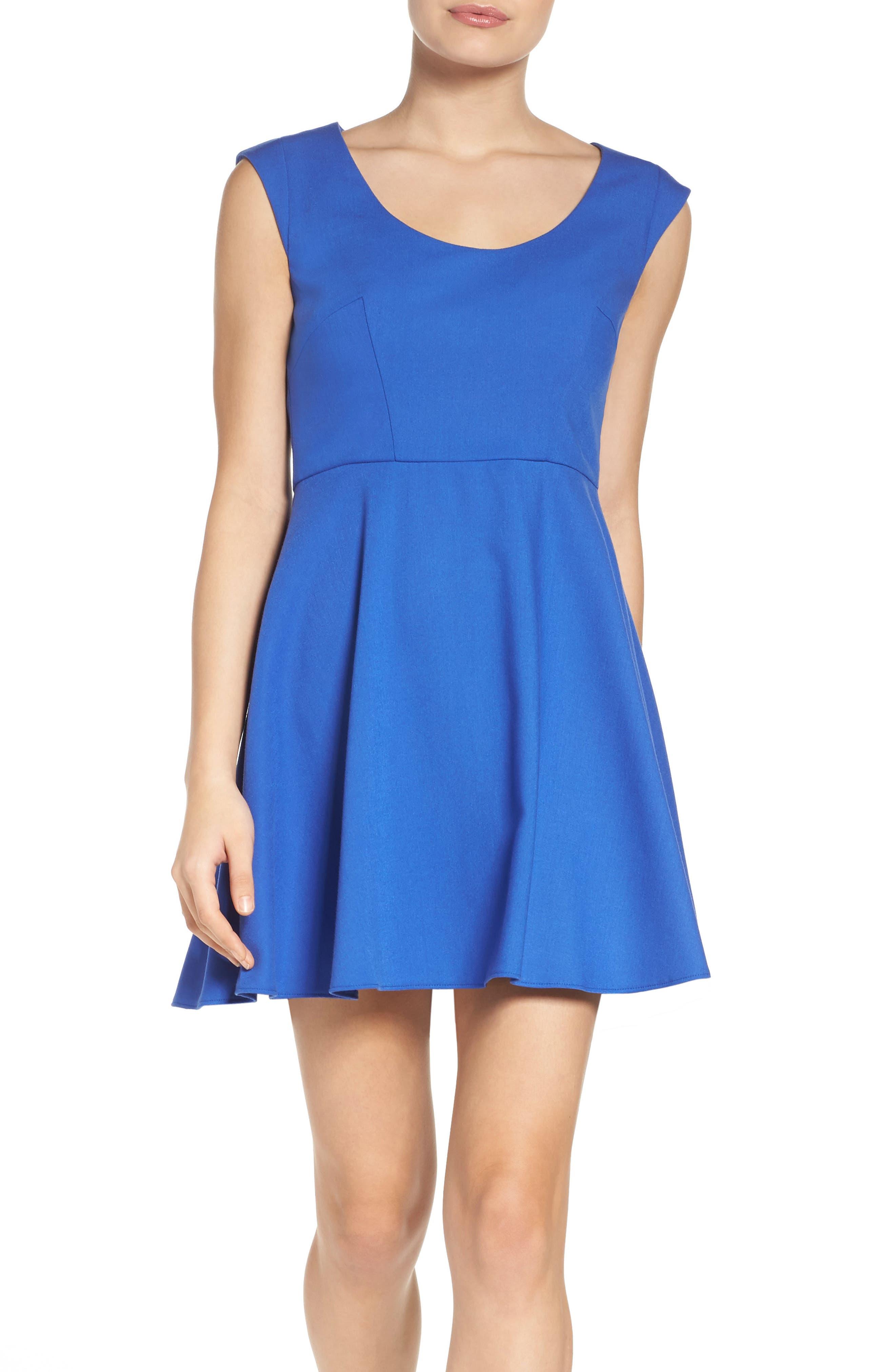 Whisper Light Fit & Flare Dress,                         Main,                         color, Empire Blue