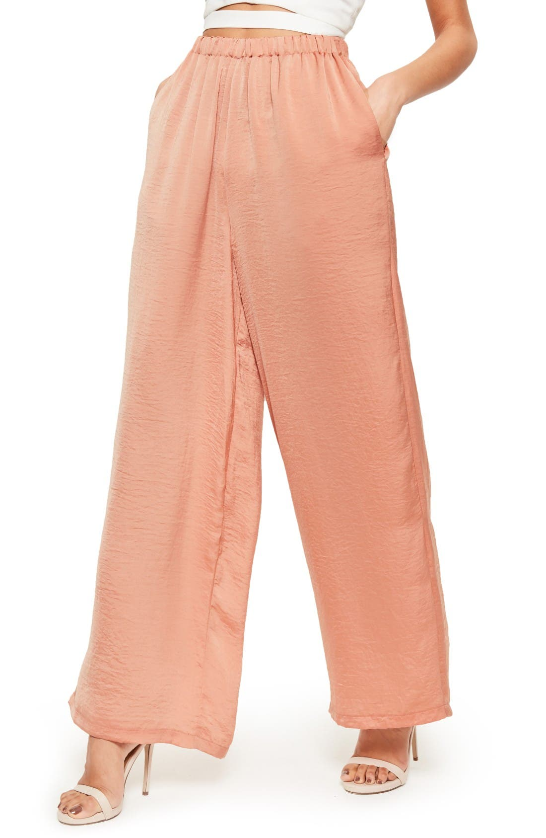 Alternate Image 4  - Missguided Wide Leg Satin Pants