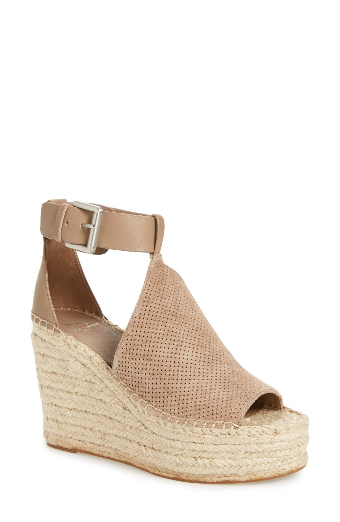 Annie Perforated Espadrille Platform Wedge, Main, color, Mushroom Suede