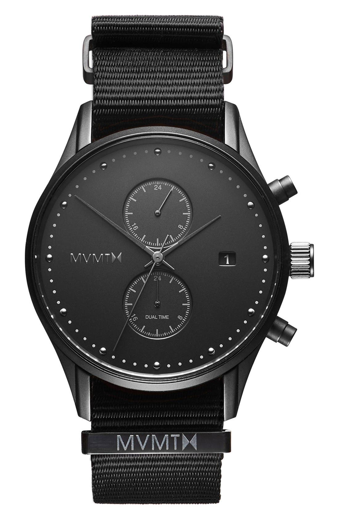 Voyager Chronograph Canvas Strap Watch, 42mm,                         Main,                         color, Black/ Onyx