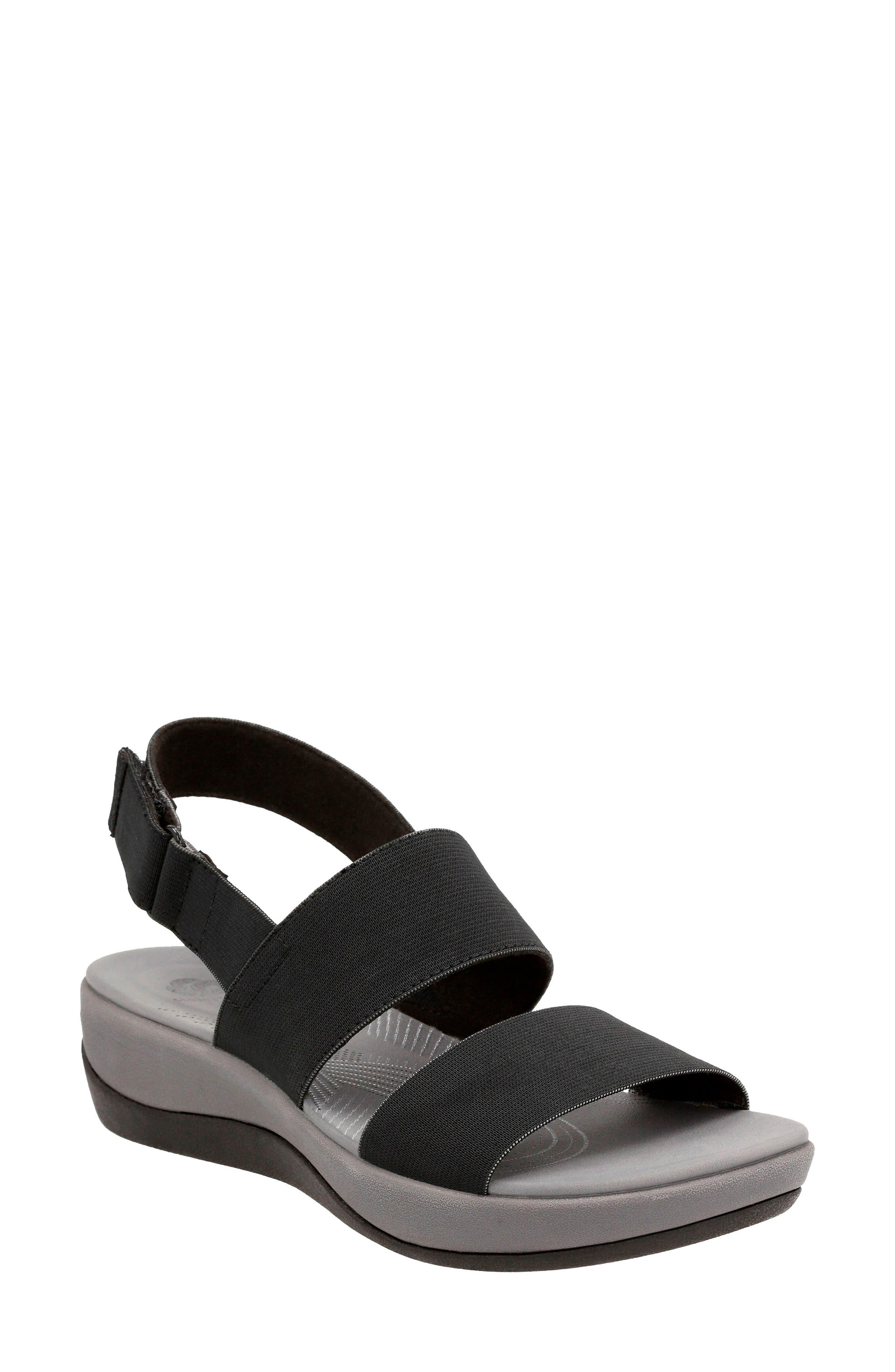 Arla Jacory Sandal,                         Main,                         color, Black Solid Fabric