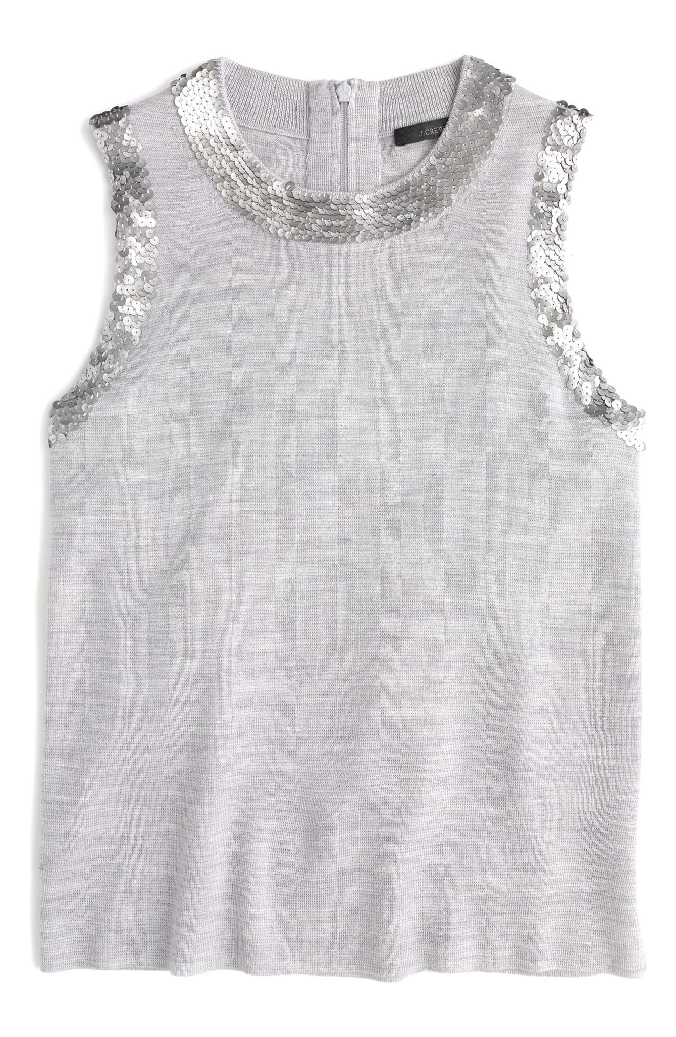 Main Image - J.Crew Sequin Crewneck Shell