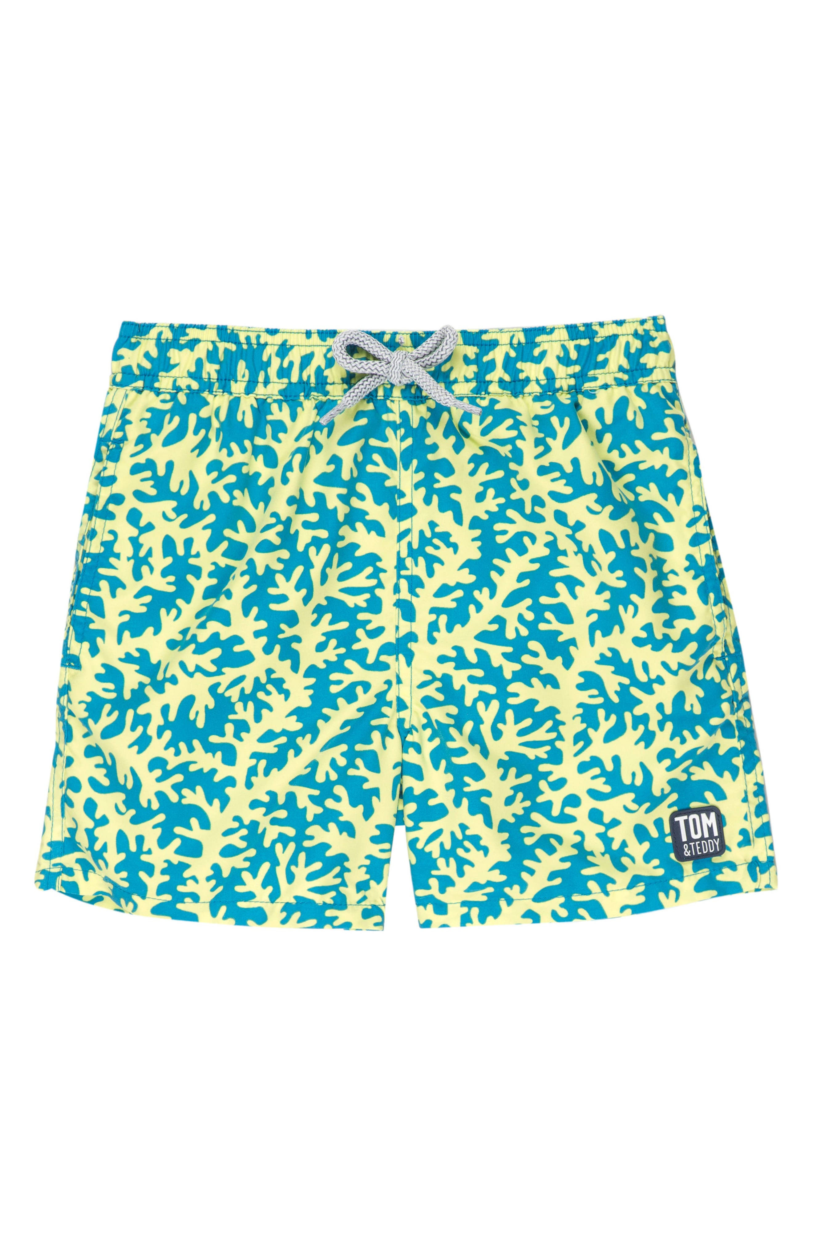 Coral Swim Trunks,                             Main thumbnail 1, color,                             Blue/ Lime