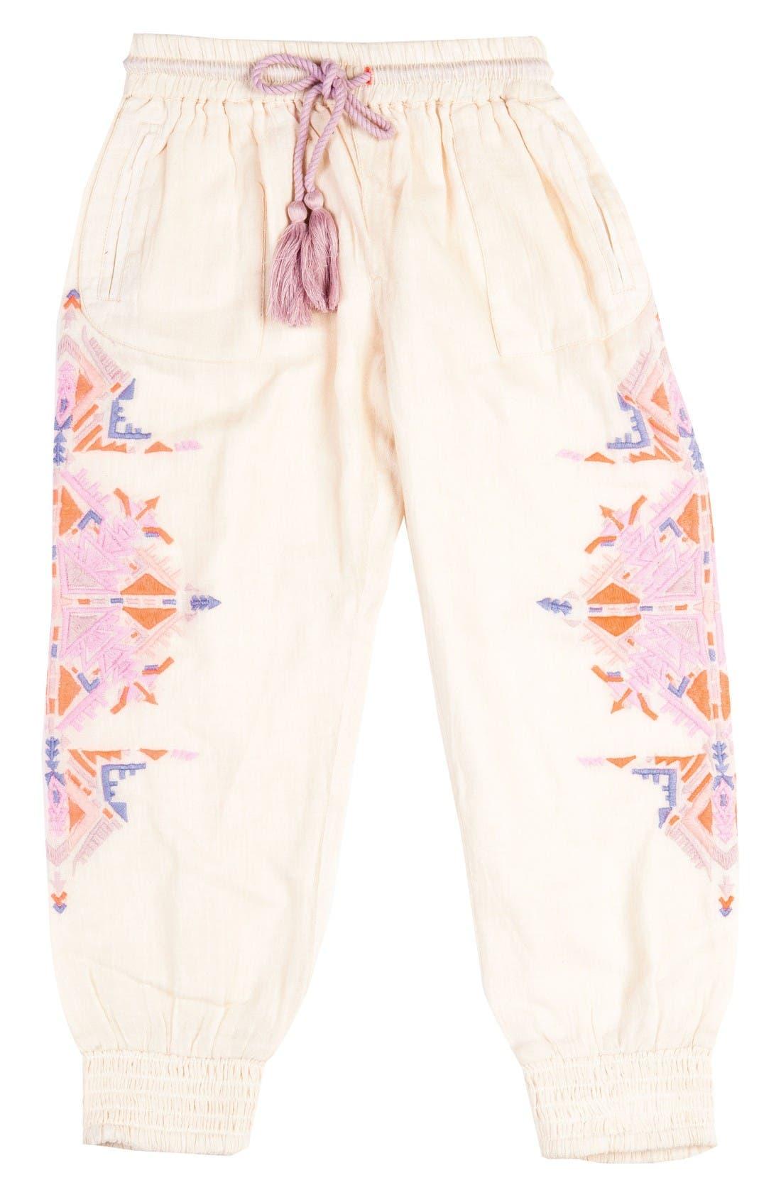 BOWIE X JAMES Running Deer Embroidered Pants (Toddler Girls, Little Girls & Big Girls)