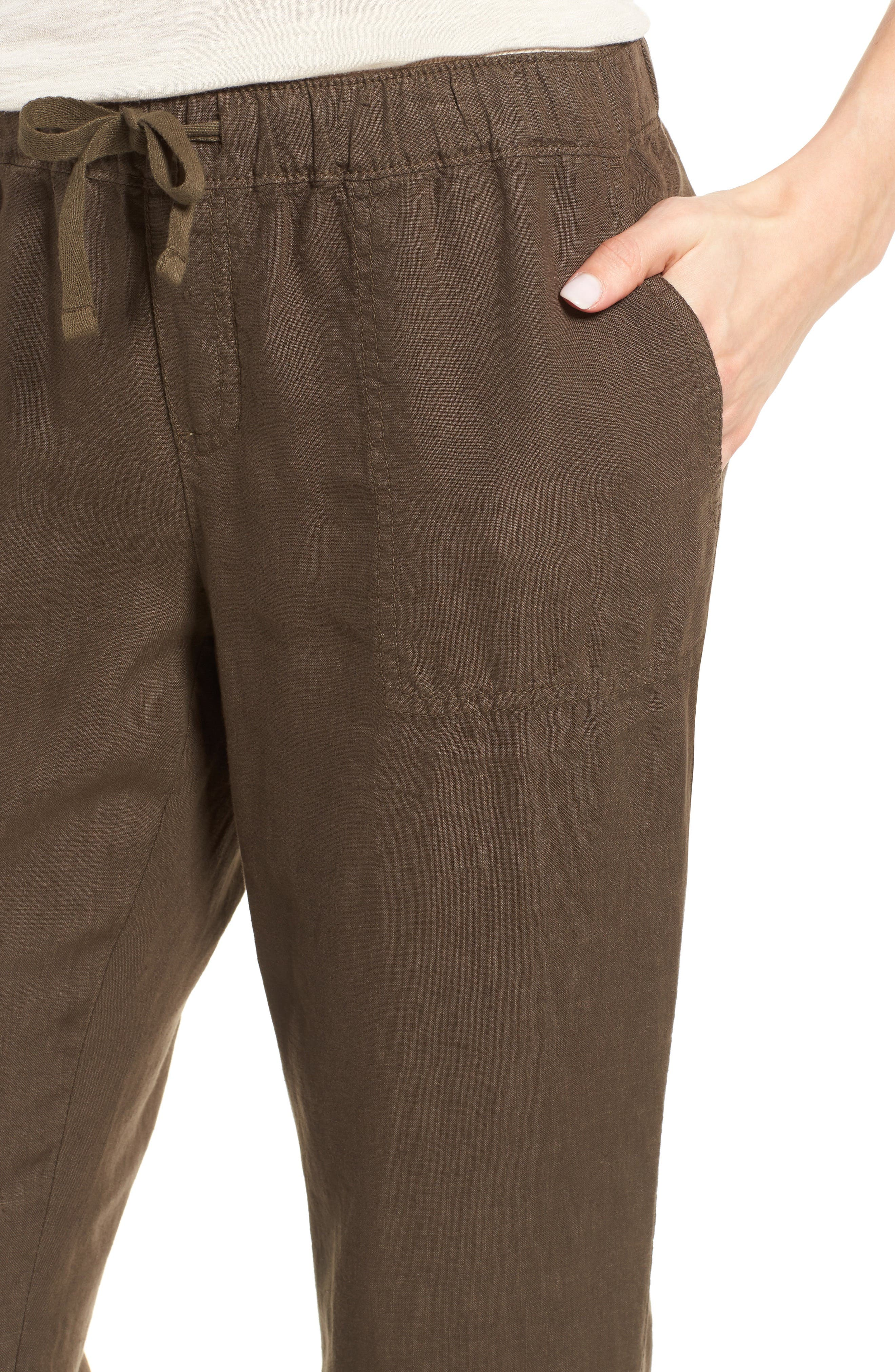 Crop Linen Joggers,                             Alternate thumbnail 5, color,                             Olive Tuscan