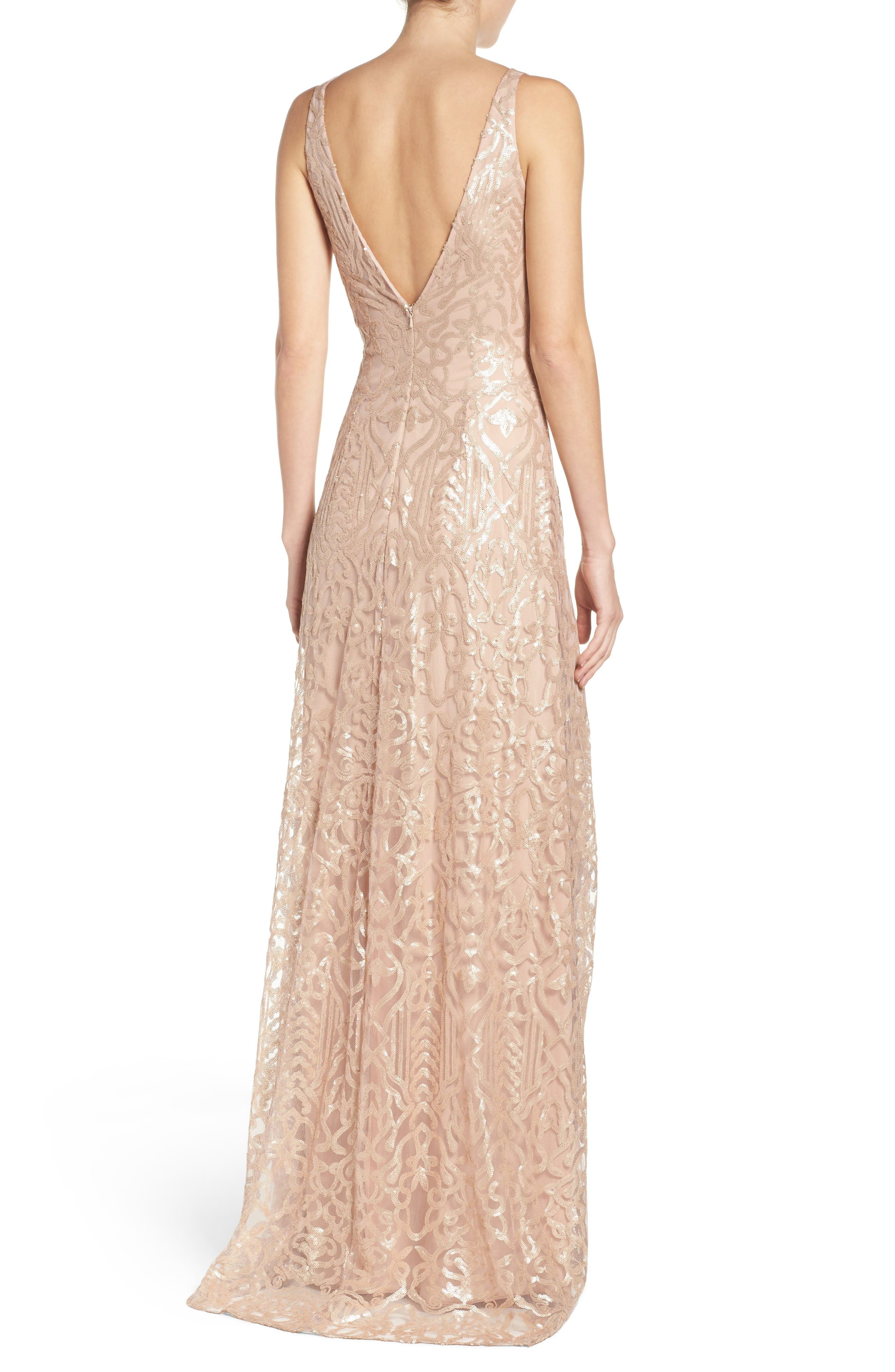 Alternate Image 2  - WTOO Sequin Embroidered A-Line Gown