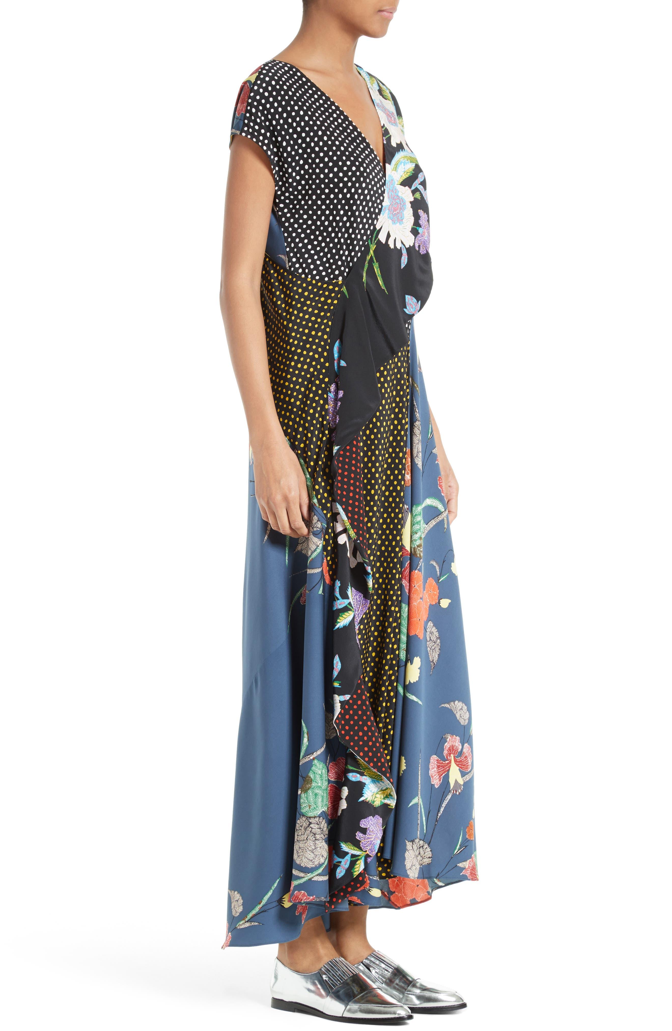 Faux Wrap Silk Maxi Dress,                             Alternate thumbnail 3, color,                             Ferma Blue