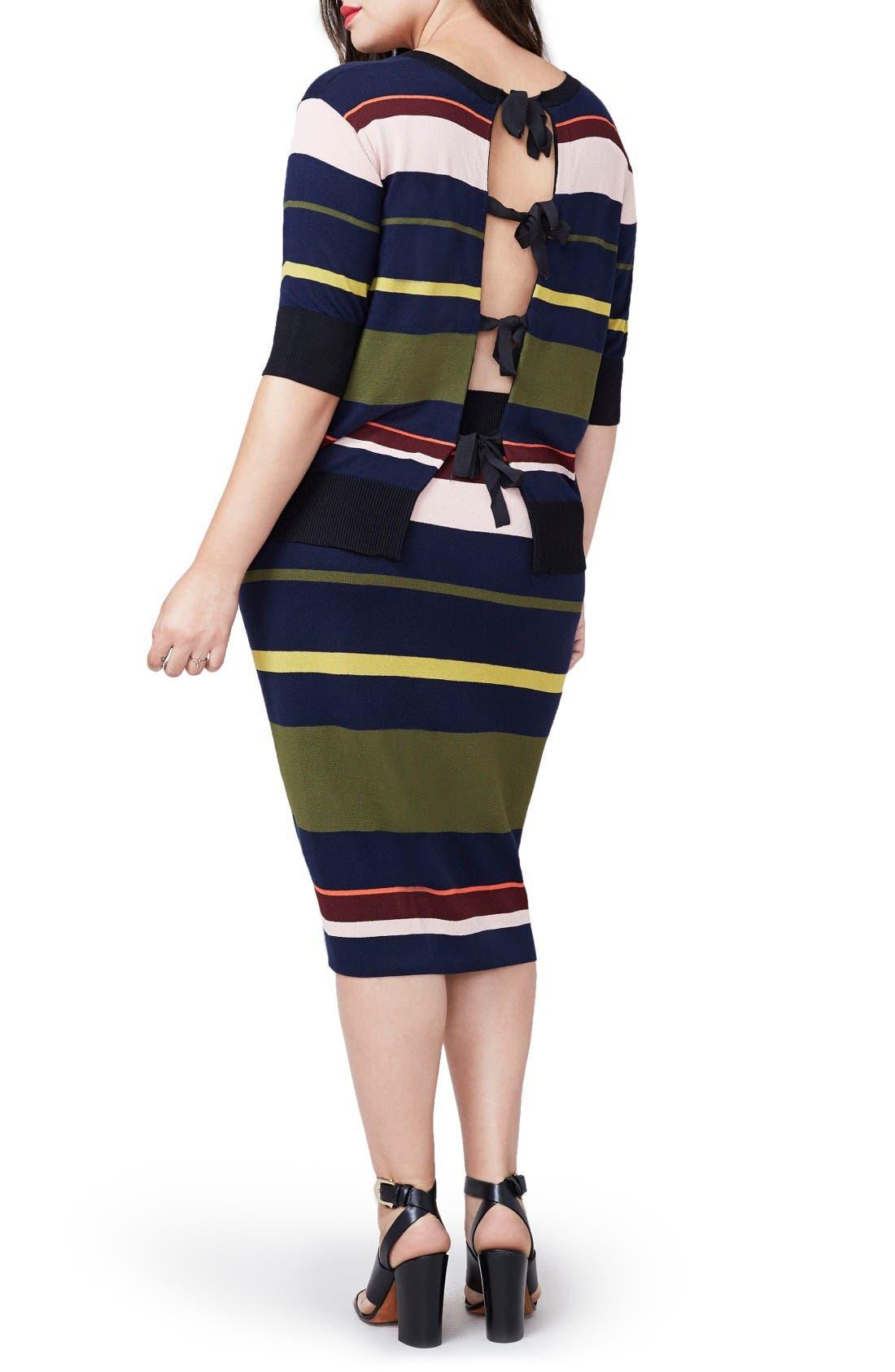 Rachel Roy Variegated Stripe Midi Skirt,                             Alternate thumbnail 2, color,                             Flame Combo