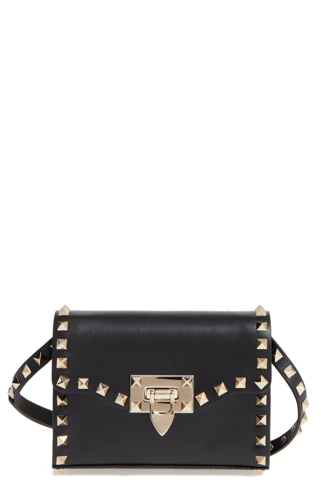 Small Rockstud Leather Shoulder Bag,                             Main thumbnail 1, color,                             Nero