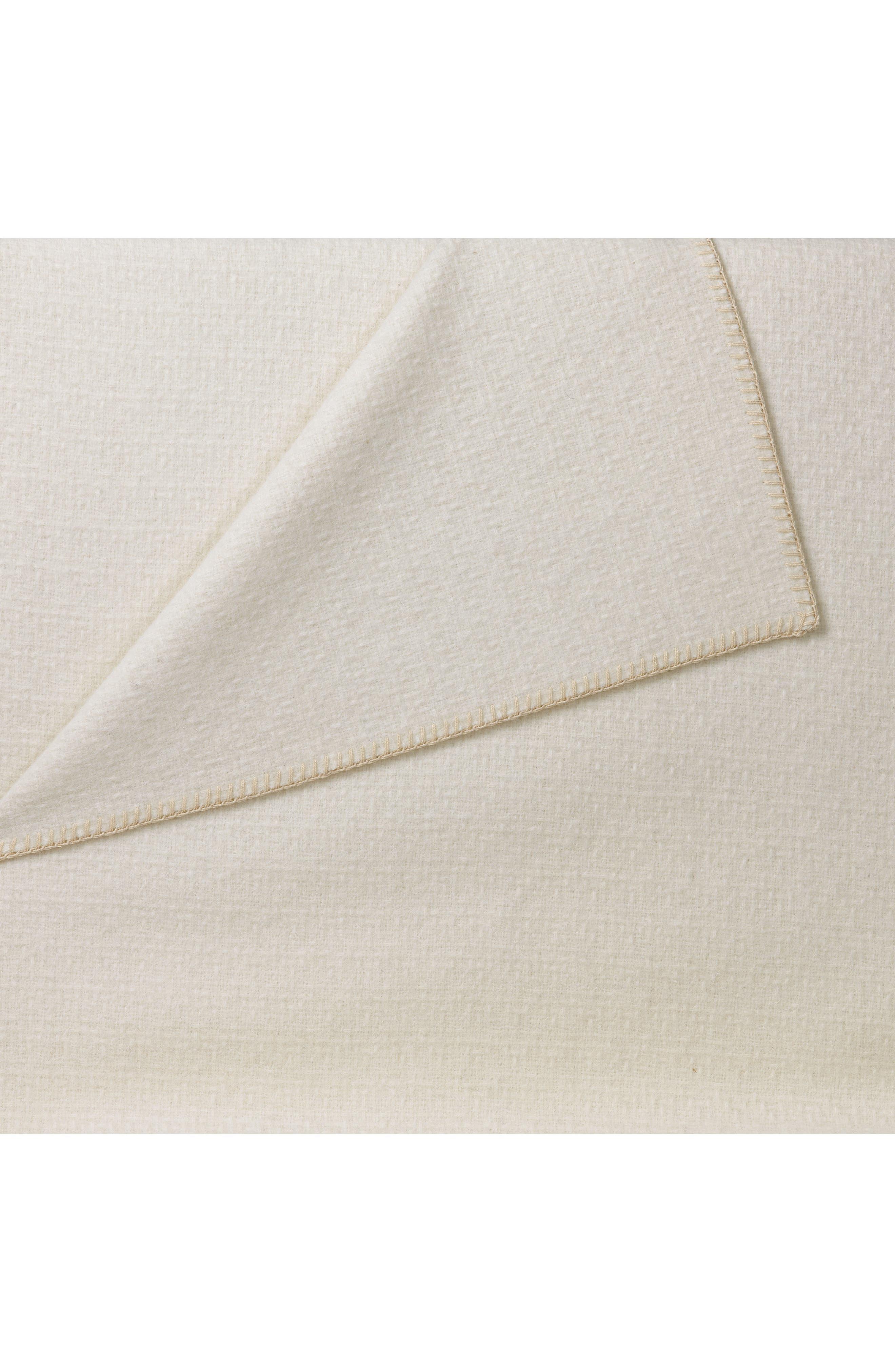 Broken Basketweave Alpaca Thow Blanket,                             Alternate thumbnail 2, color,                             Ivory