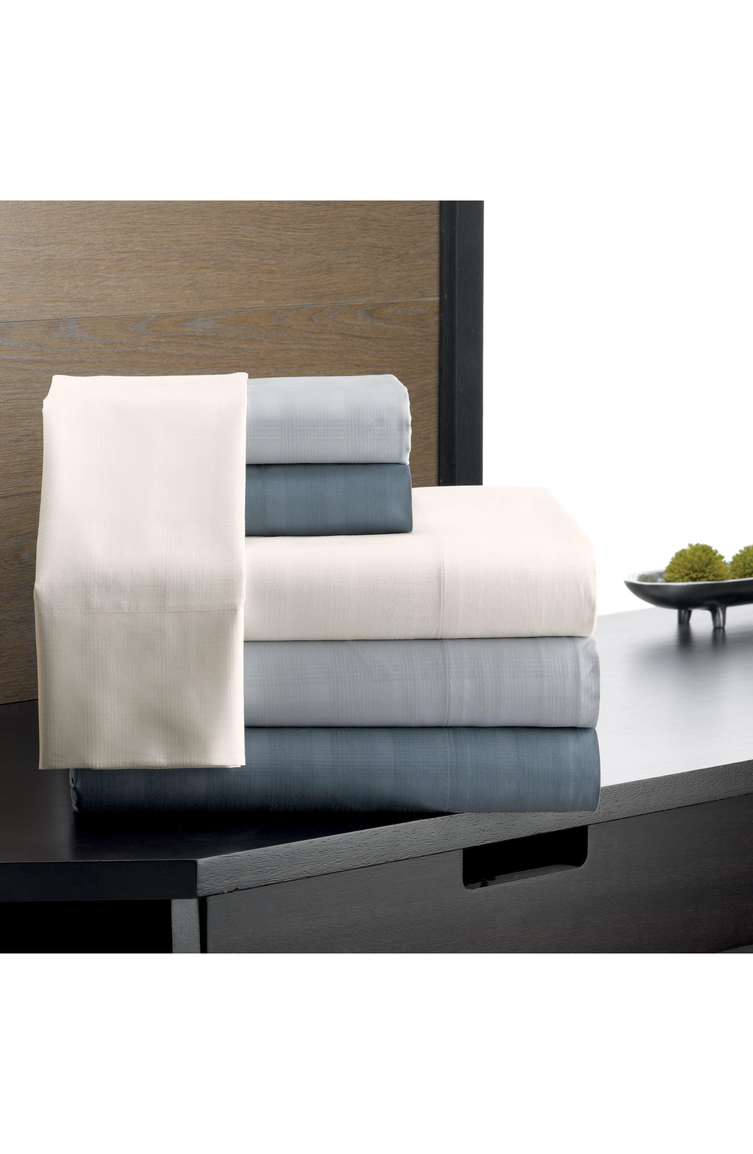 Dobby Plaid Organic Cotton Flat Sheet,                             Alternate thumbnail 2, color,                             Blue Mirage