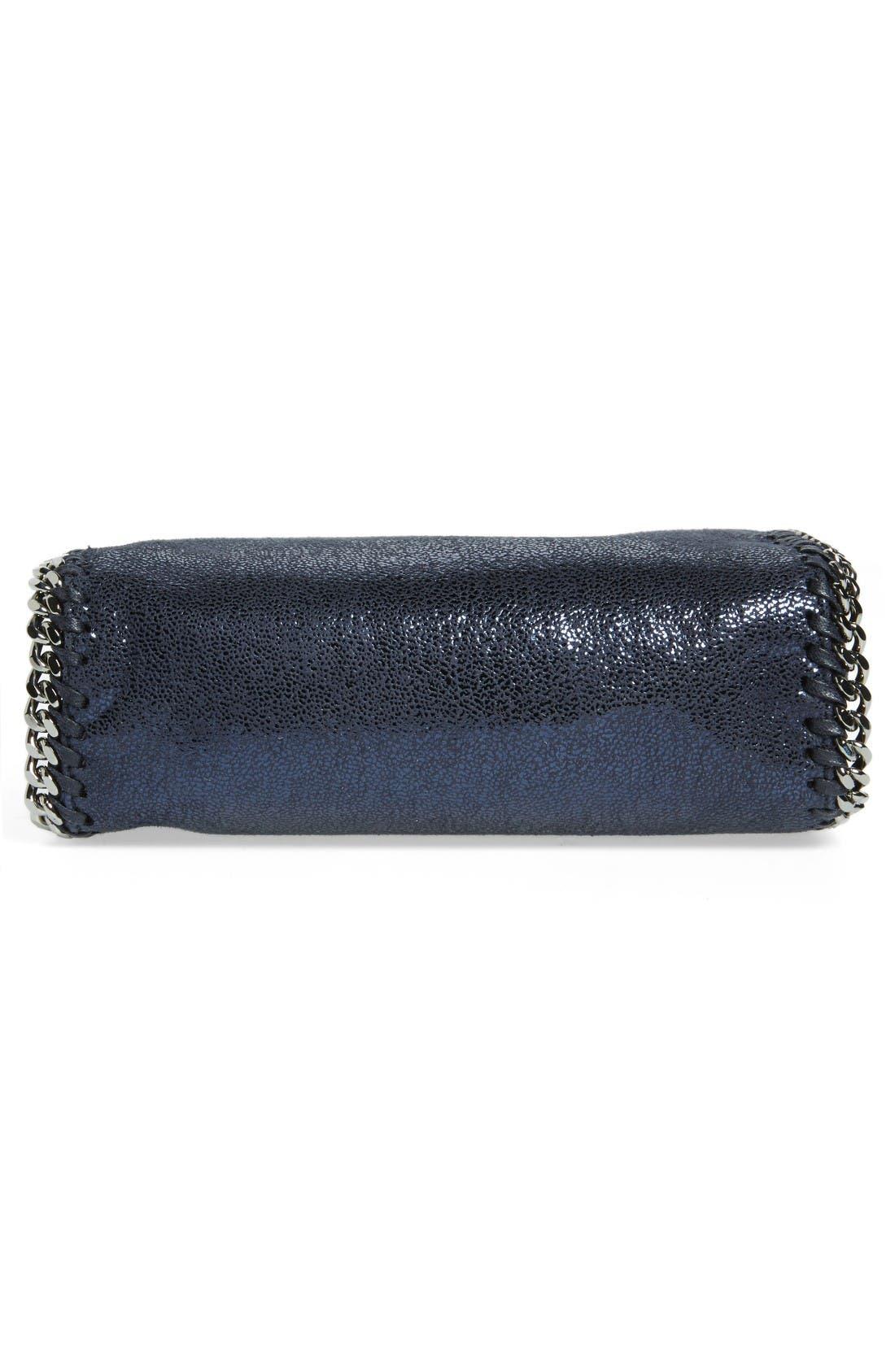 'Tiny Falabella' Metallic Faux Leather Crossbody Bag,                             Alternate thumbnail 5, color,                             Ink