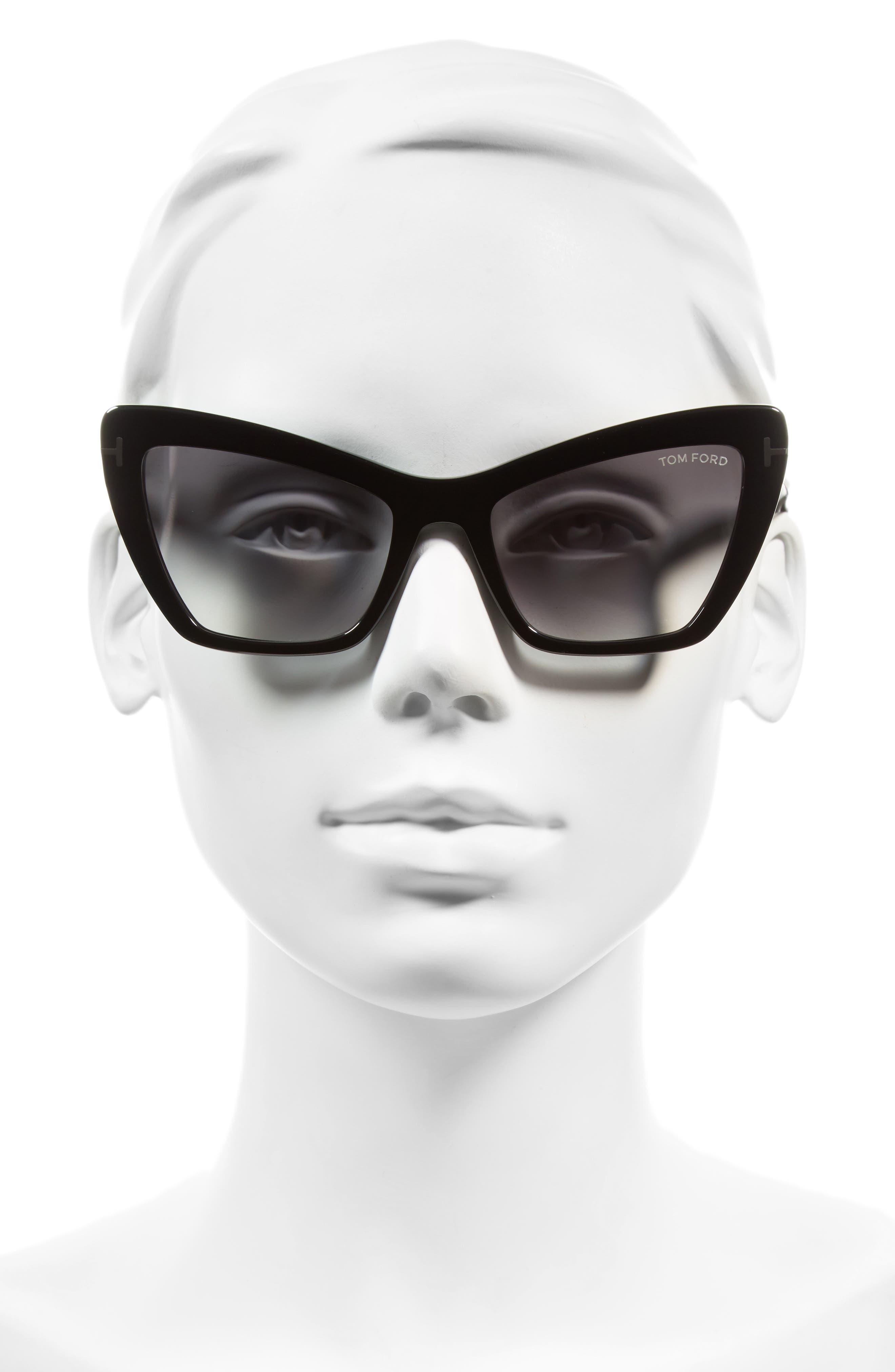 Valesca 55mm Cat Eye Sunglasses,                             Alternate thumbnail 2, color,                             Shiny Black/ Gradient Smoke