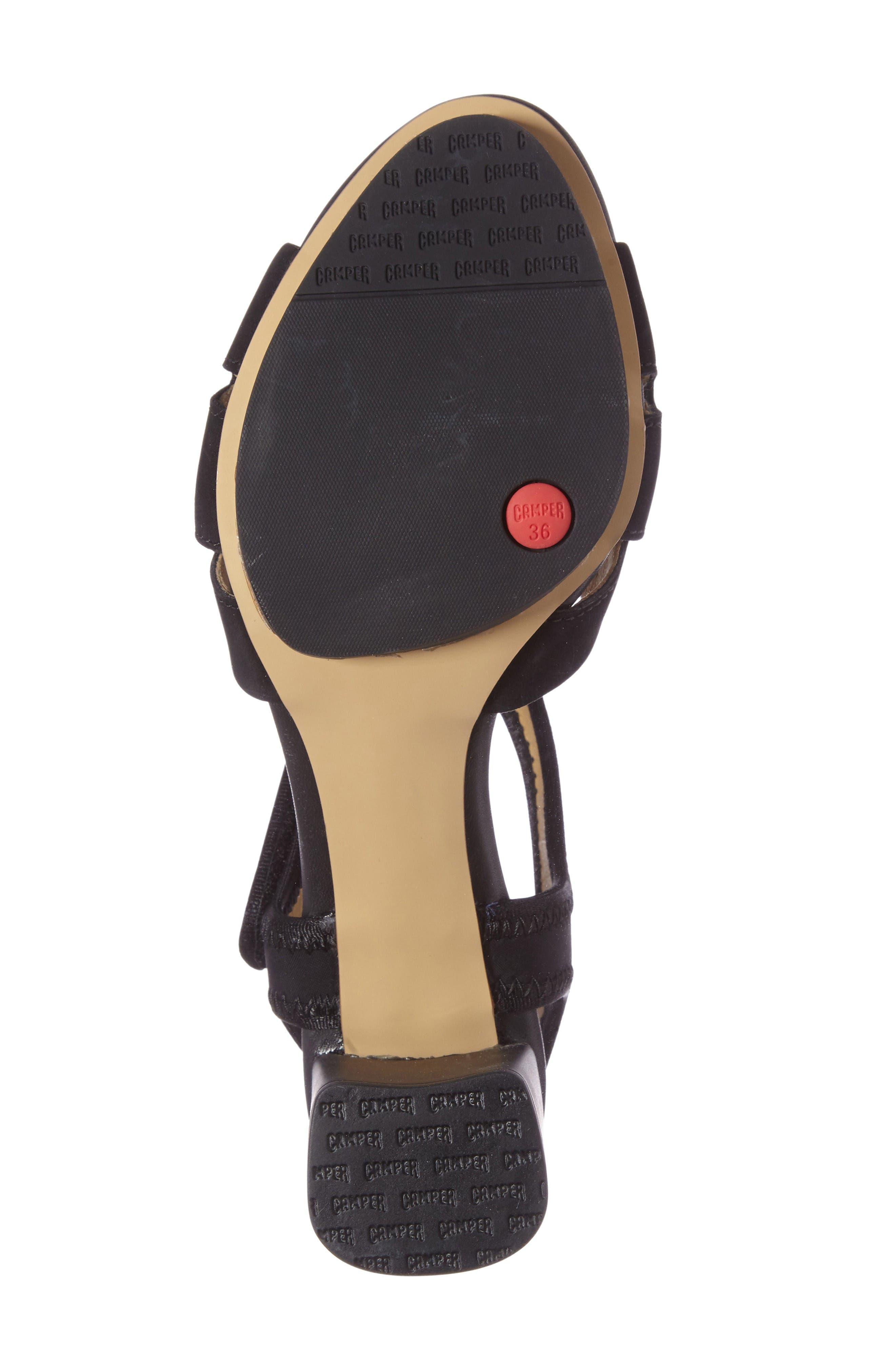 'Myriam' Ankle Strap Platform Sandal,                             Alternate thumbnail 4, color,                             Black/ Black Leather