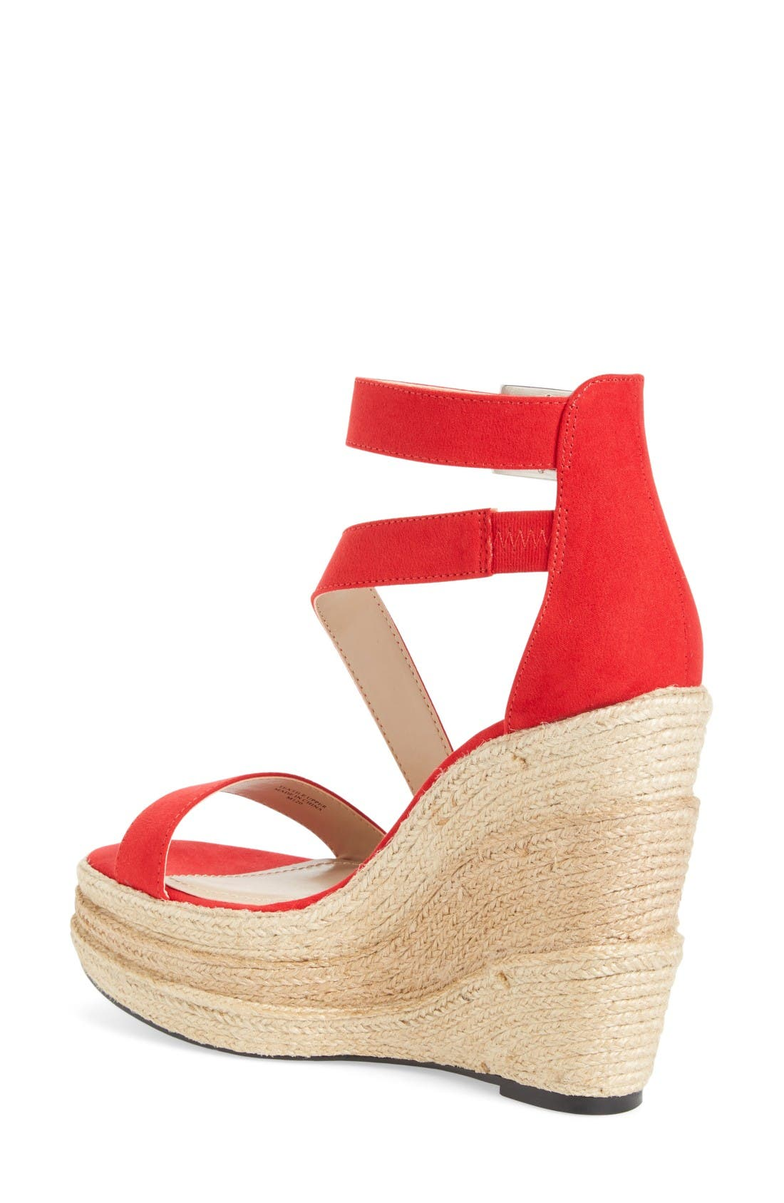 Thunder Wedge Sandal,                             Alternate thumbnail 2, color,                             Red Micro Suede