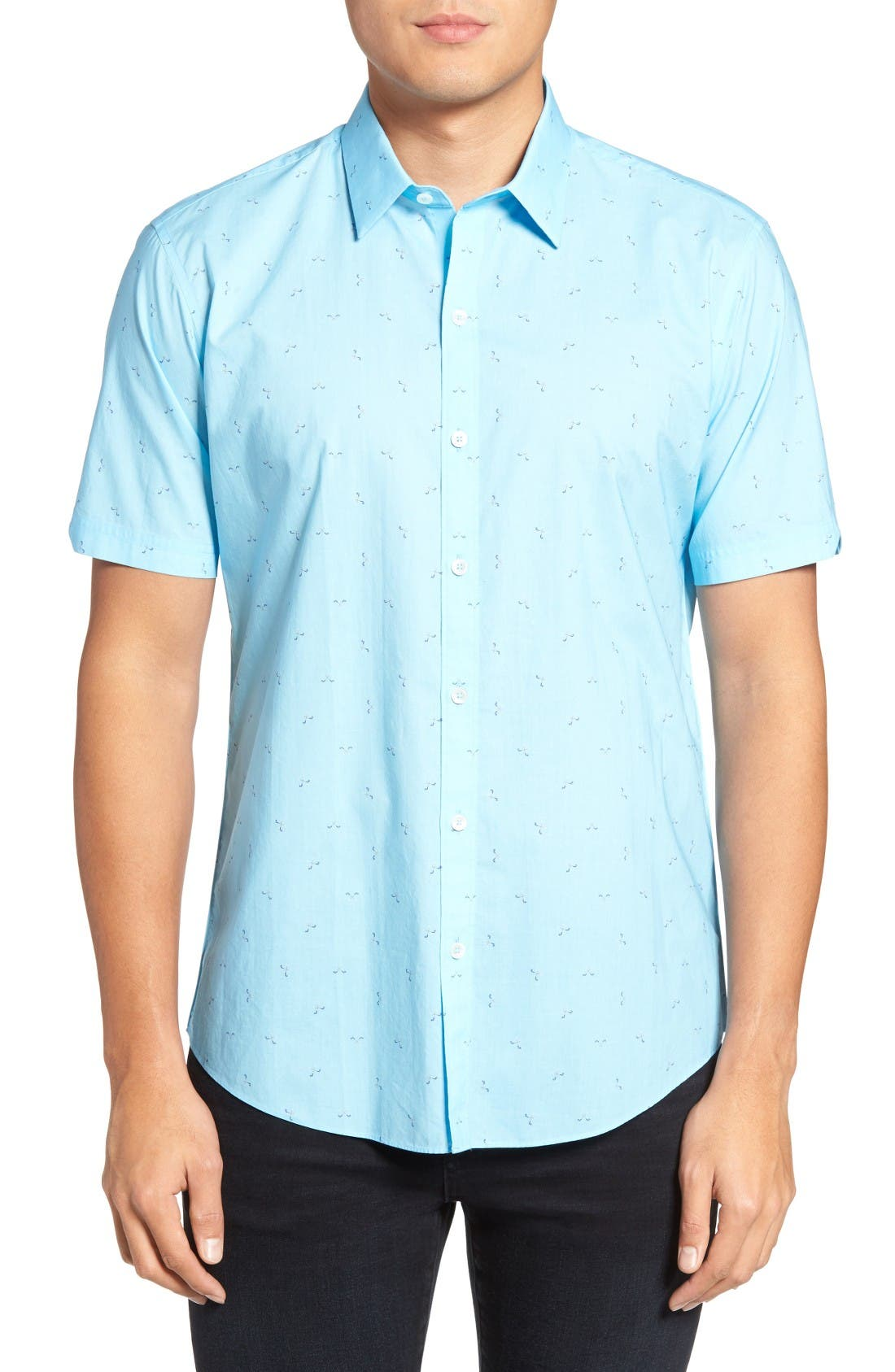 Weinman Regular Fit Print Short Sleeve Sport Shirt,                         Main,                         color, Turquoise
