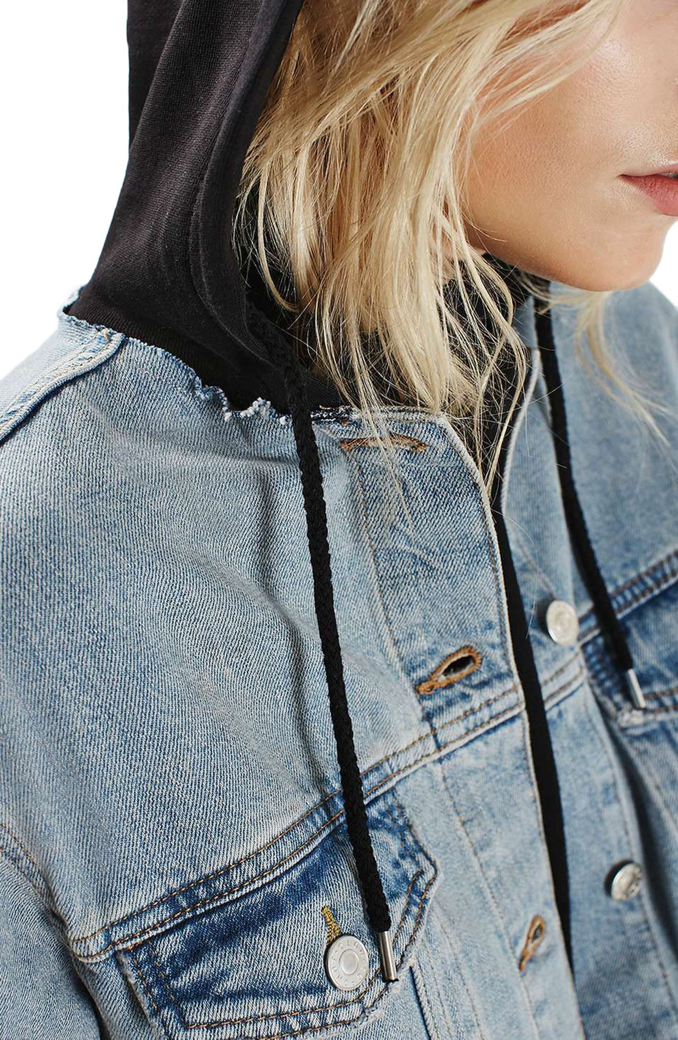 Alternate Image 6  - Topshop Hooded Denim Jacket