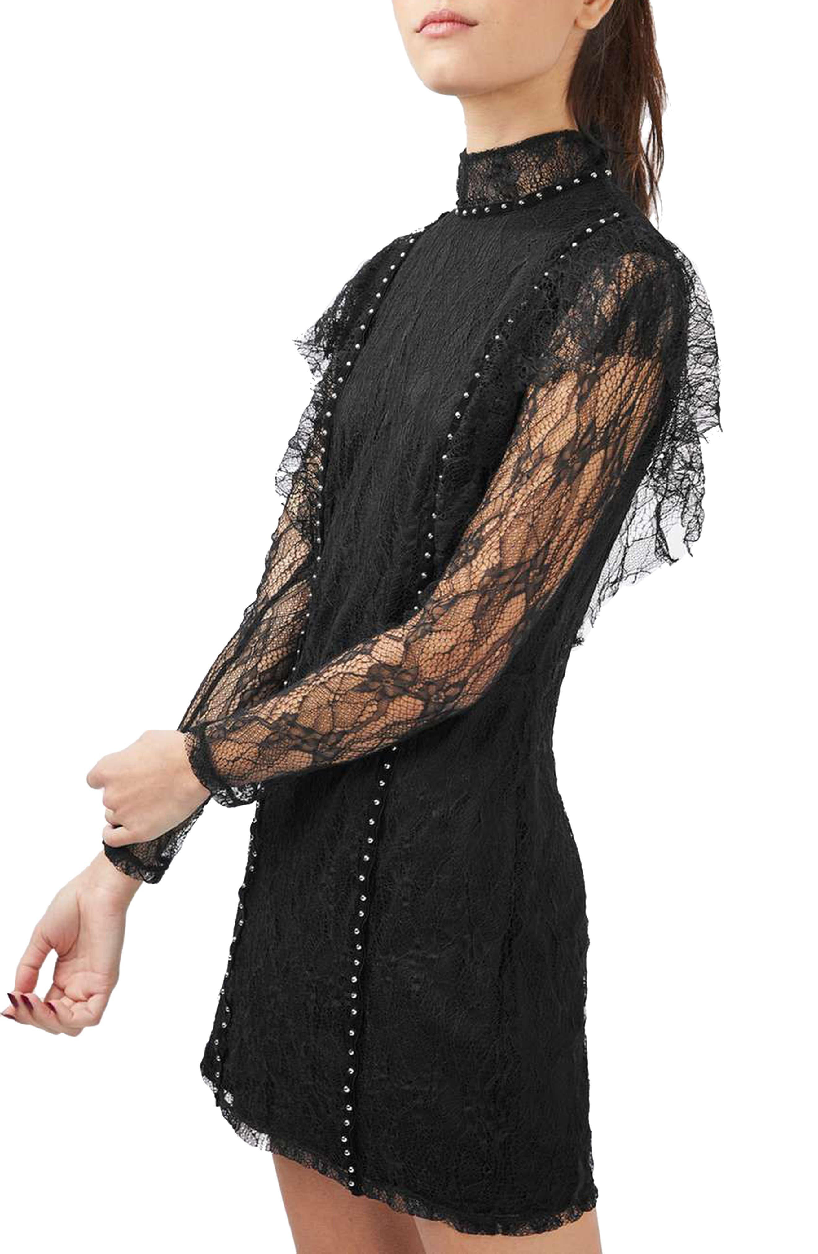 Main Image - Topshop Stud Ruffle Lace Dress