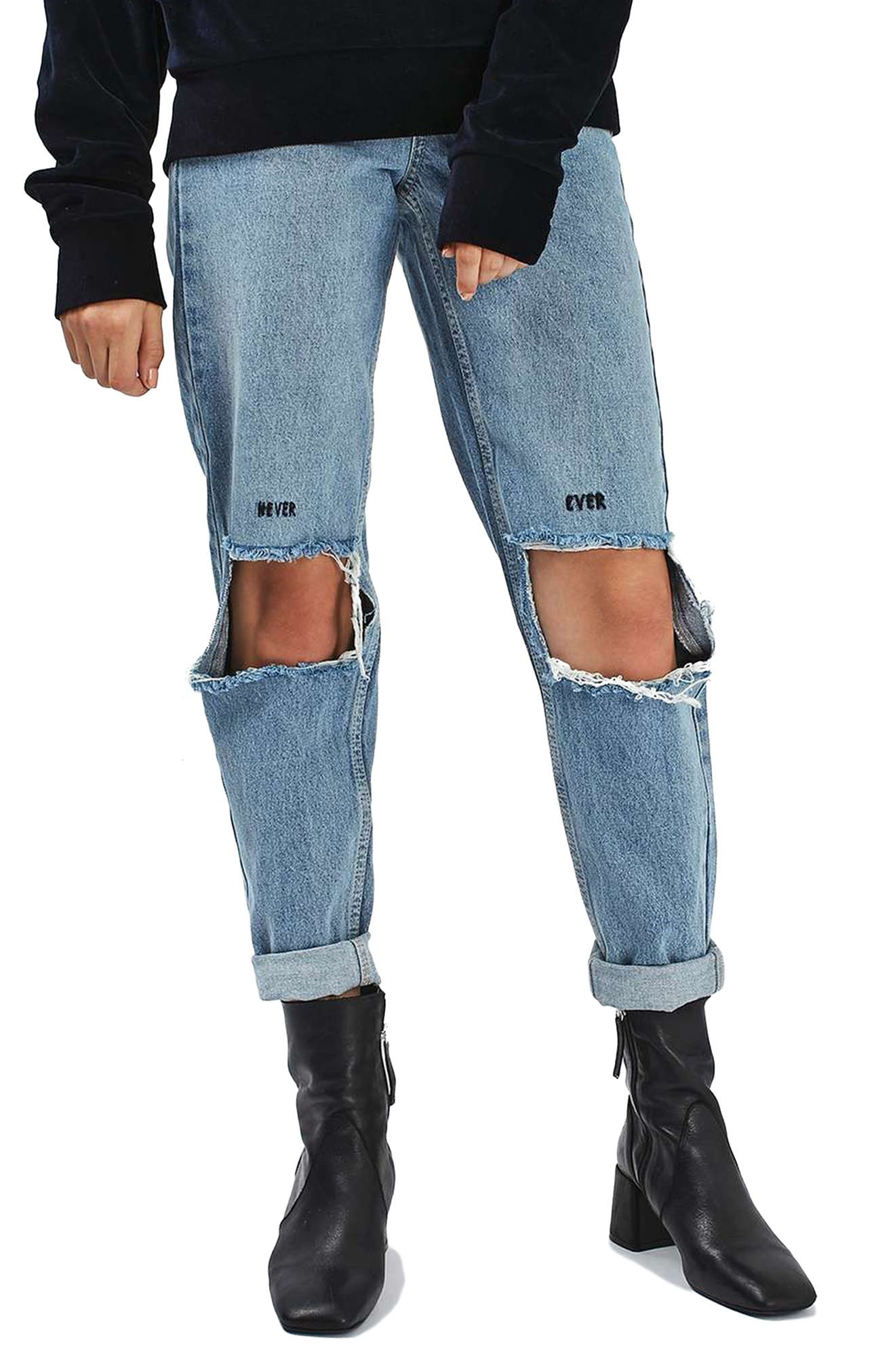 Main Image - Topshop Embroidered Slogan Ripped Jeans