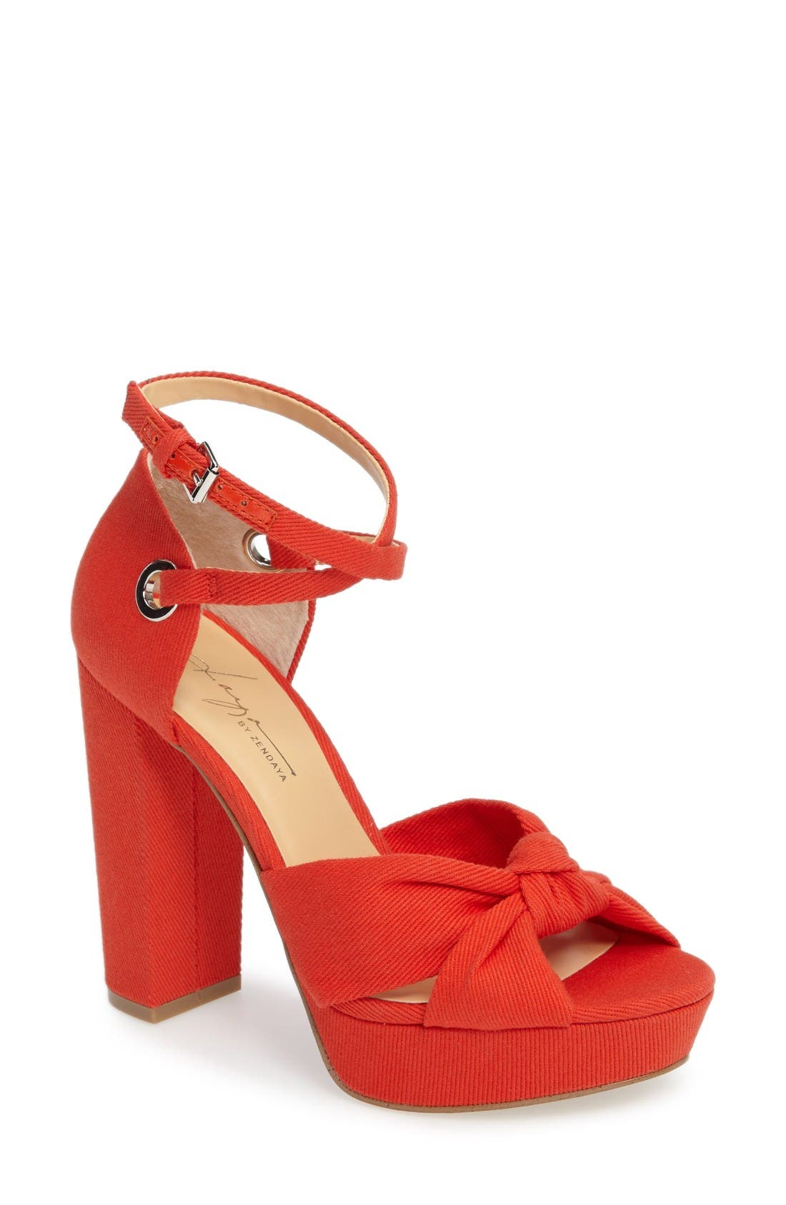 by Zendaya Mission Ankle Wrap Platform Pump,                             Main thumbnail 1, color,                             Mandarin Red