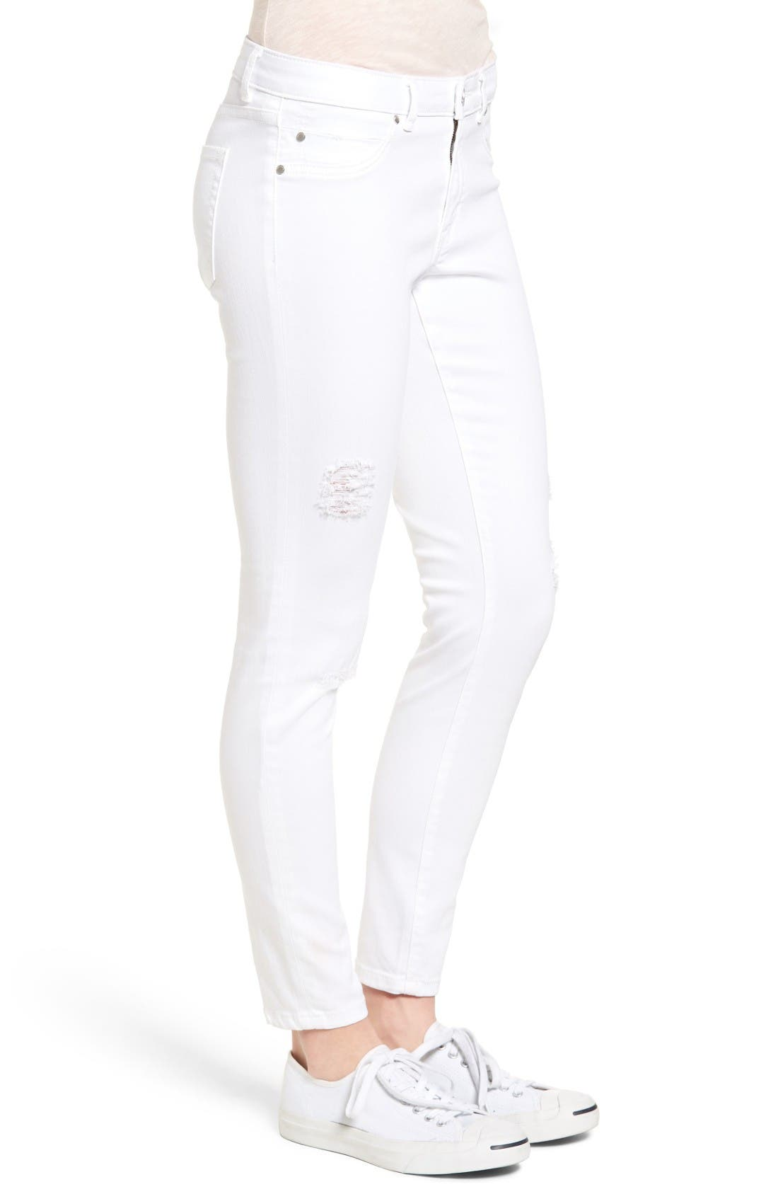 Alternate Image 4  - Caslon® Distressed Skinny Jeans (Regular & Petite)