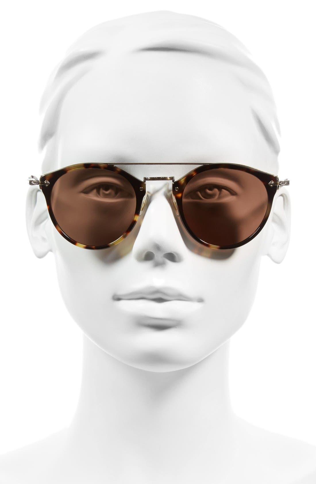 Remick 50mm Brow Bar Sunglasses,                             Alternate thumbnail 2, color,                             Dark Brown