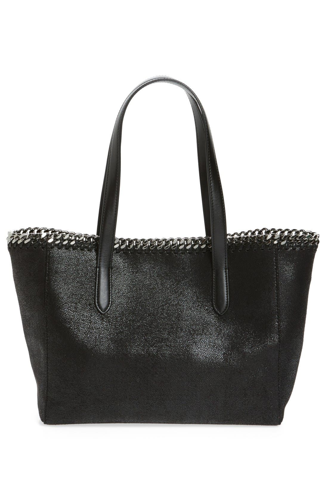 Small Falabella Shaggy Deer Faux Leather Tote,                             Alternate thumbnail 3, color,                             Black