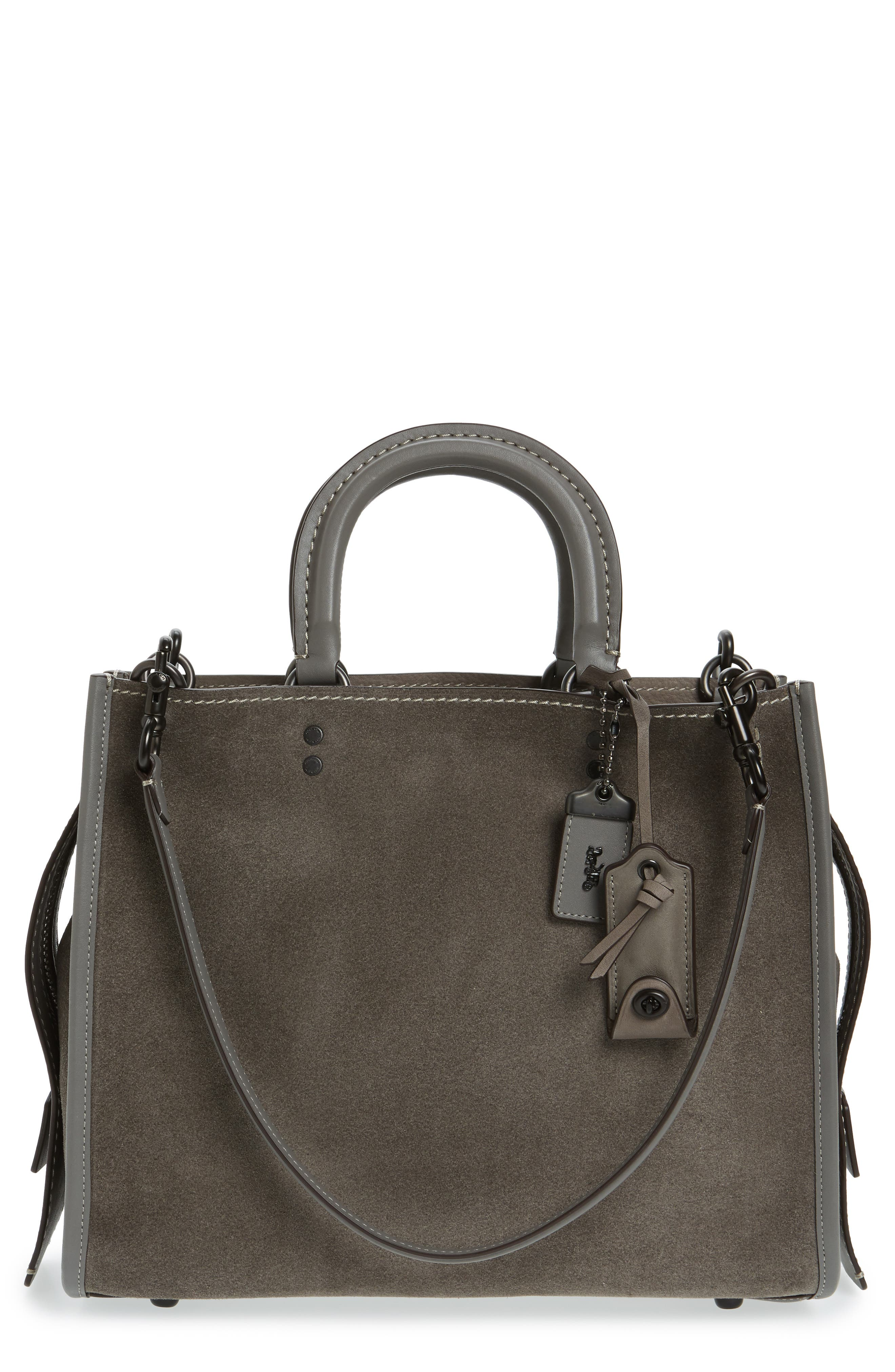 'Rogue' Leather Satchel,                         Main,                         color, Heather Grey