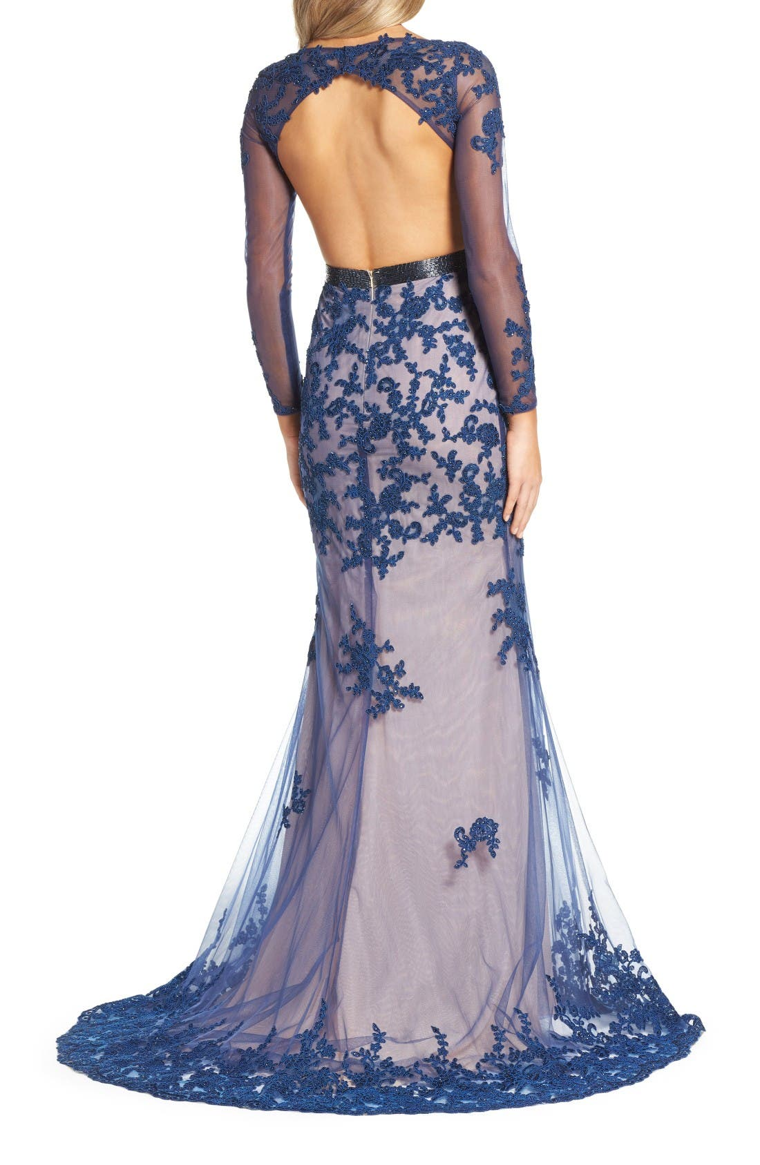 Open Back Embroidered Tulle Gown,                             Alternate thumbnail 2, color,                             Sapphire