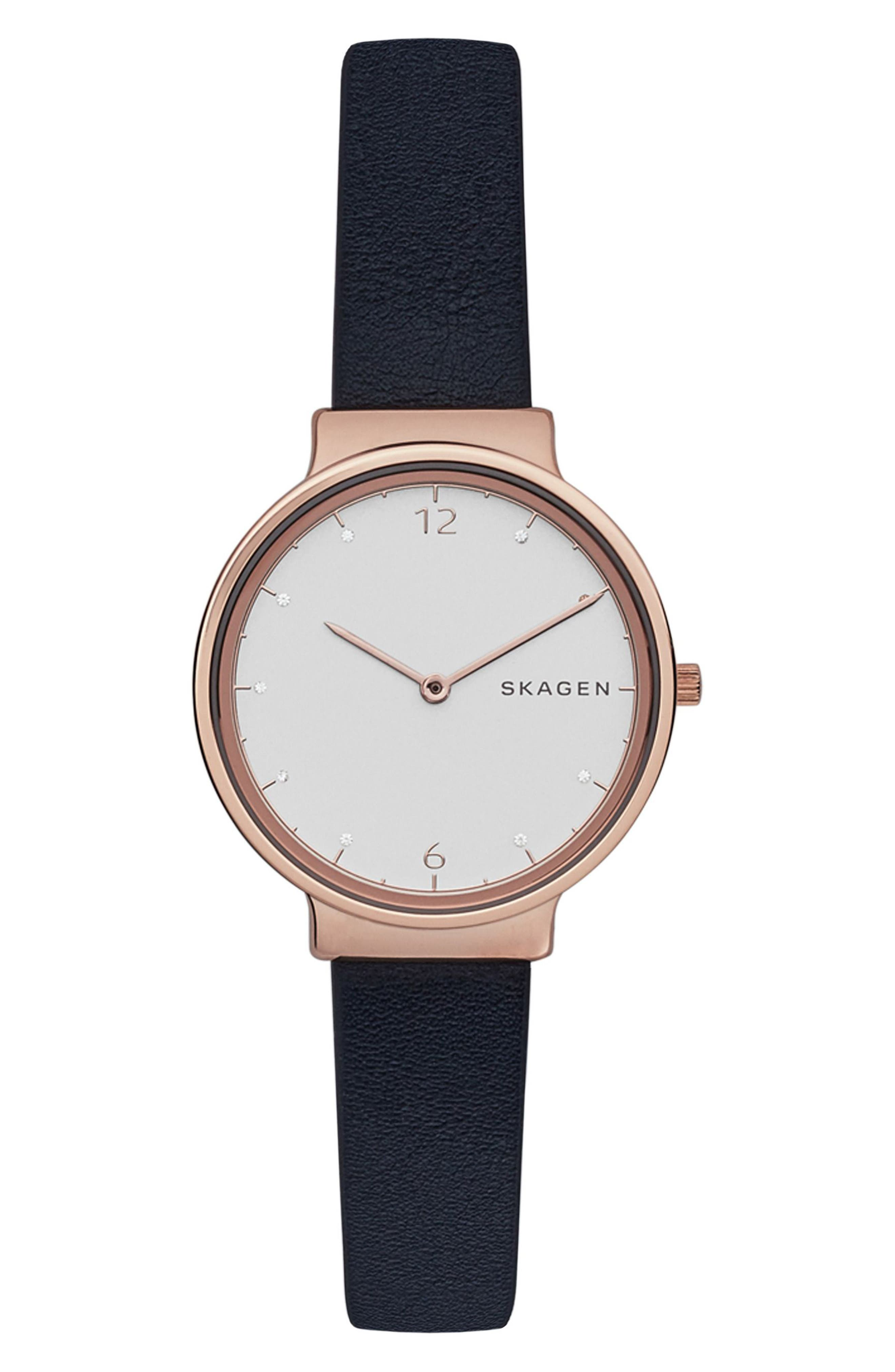 Main Image - Skagen Ancher Crystal Index Leather Strap Watch, 30mm