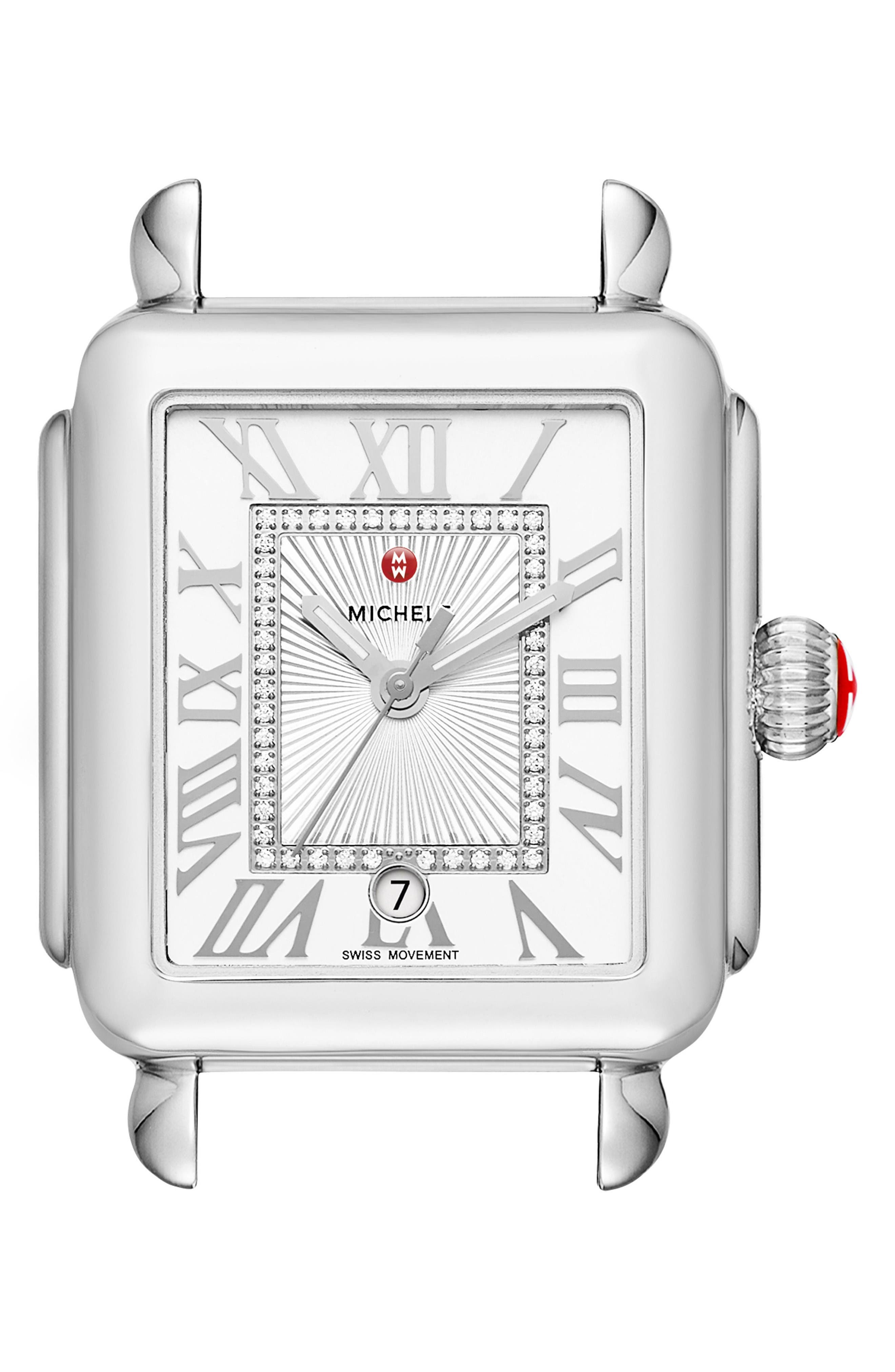 Deco Madison Diamond Dial Watch Case, 33mm x 35mm,                         Main,                         color, Silver