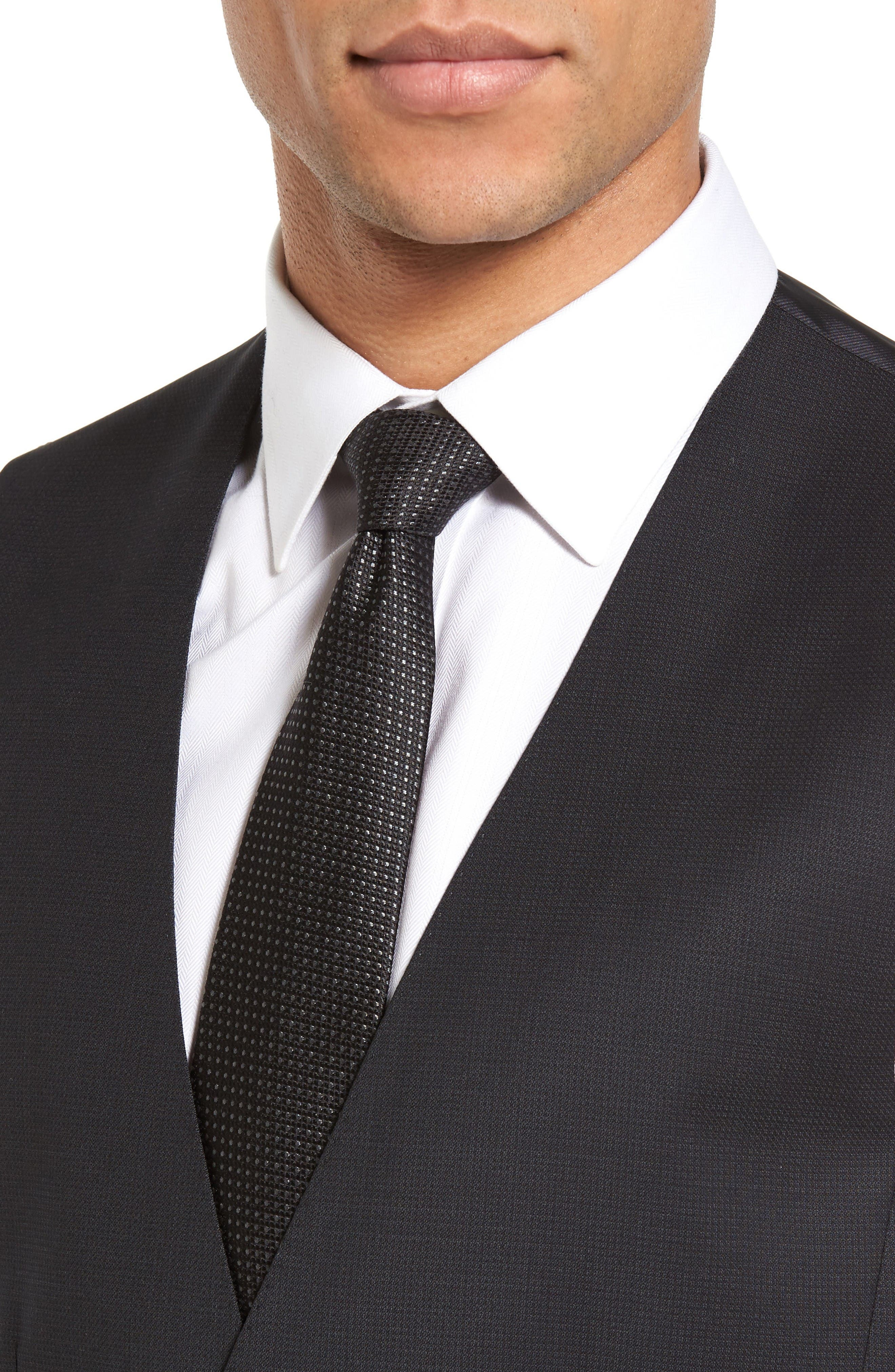 Huge Weste Trim Fit Wool Vest,                             Alternate thumbnail 4, color,                             Black