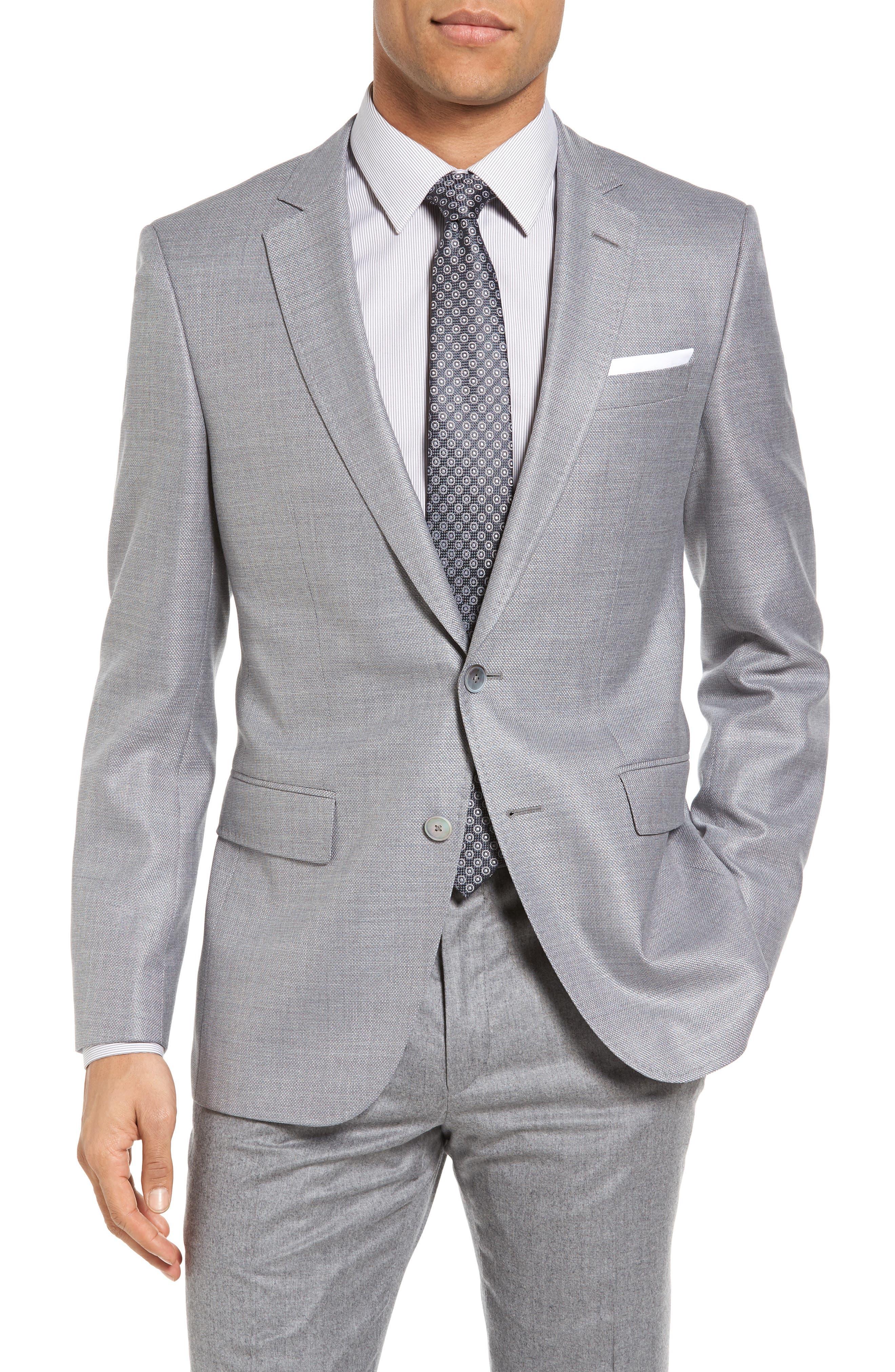 BOSS Hutsons Trim Fit Wool & Silk Blazer