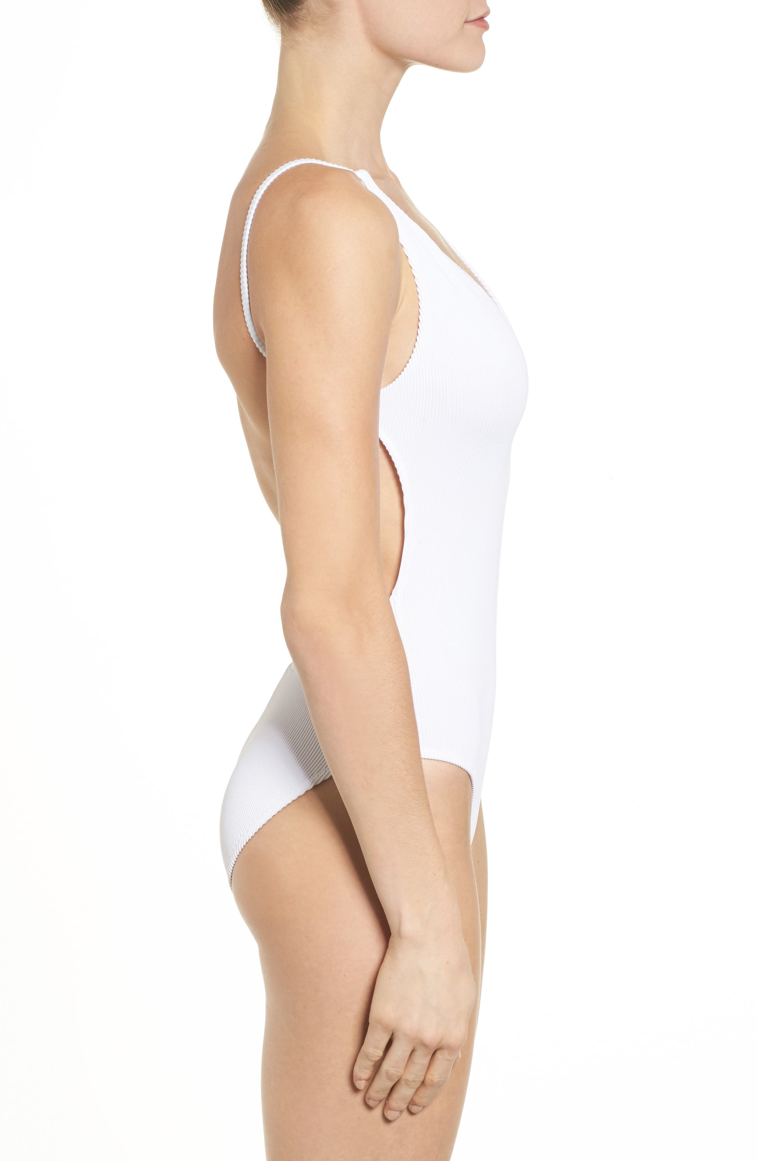 Plunge Wide Rib One-Piece Swimsuit,                             Alternate thumbnail 3, color,                             White